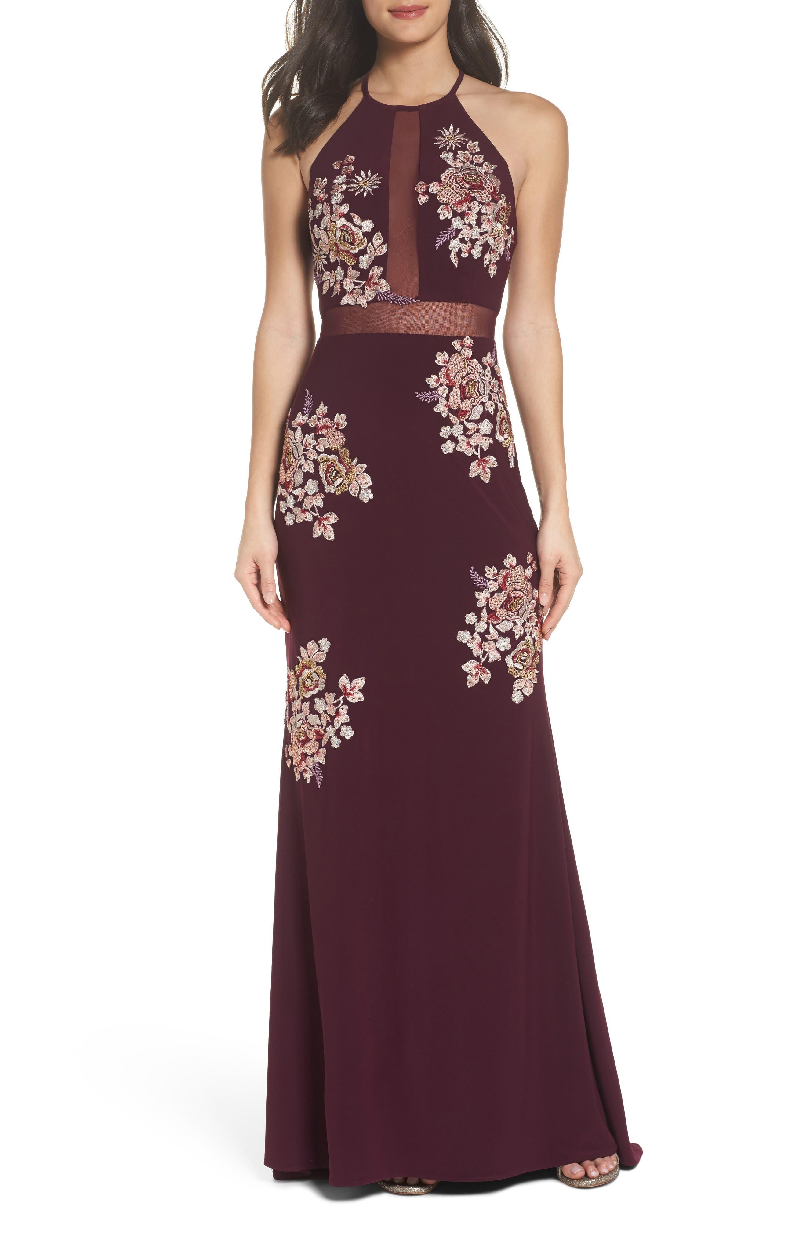 Main Image - Xscape Embellished Floral Halter Gown (Regular & Petite)