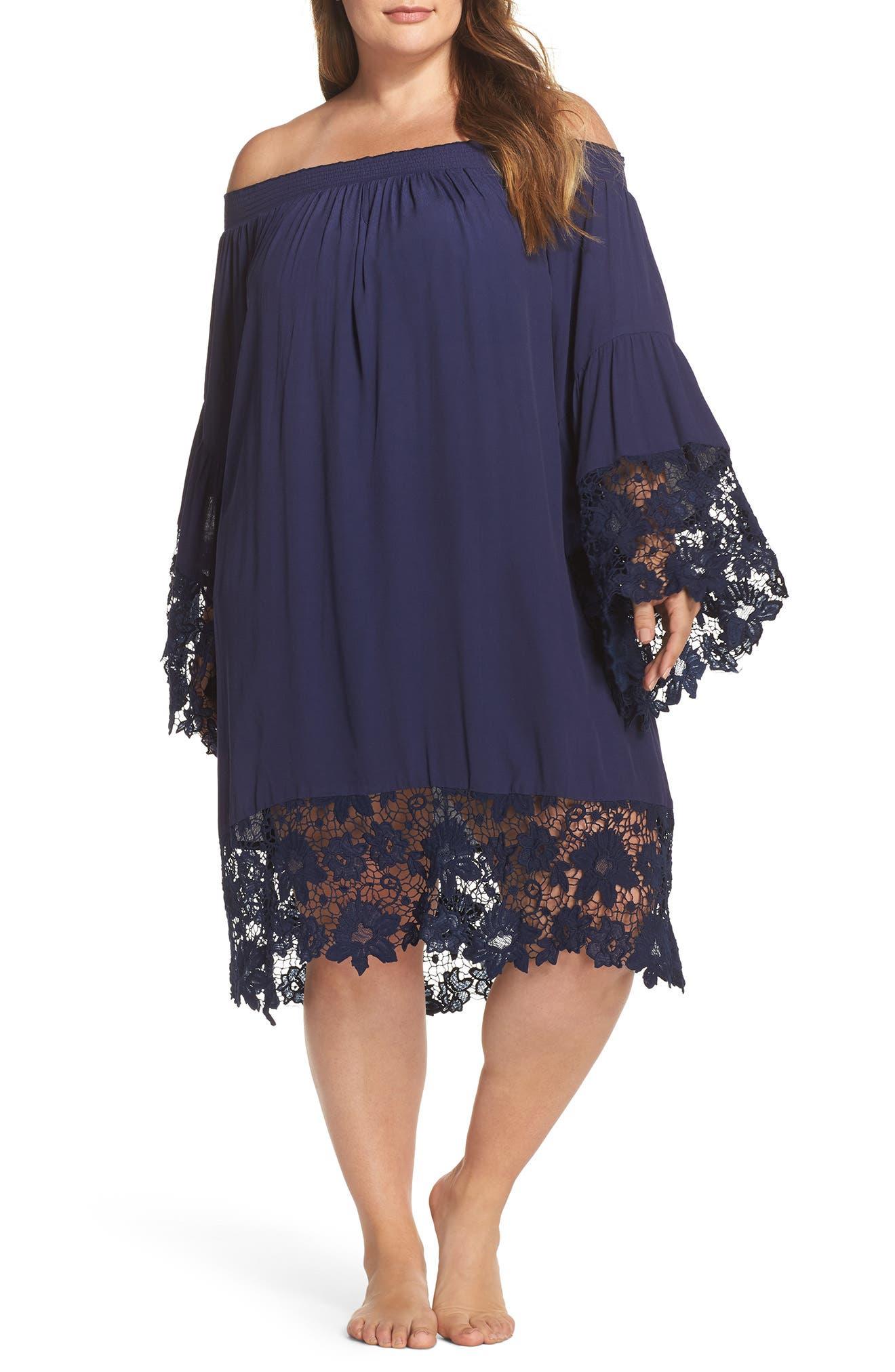 Alternate Image 1 Selected - Muche et Muchette Jolie Lace Accent Cover-Up Dress (Plus-Size)