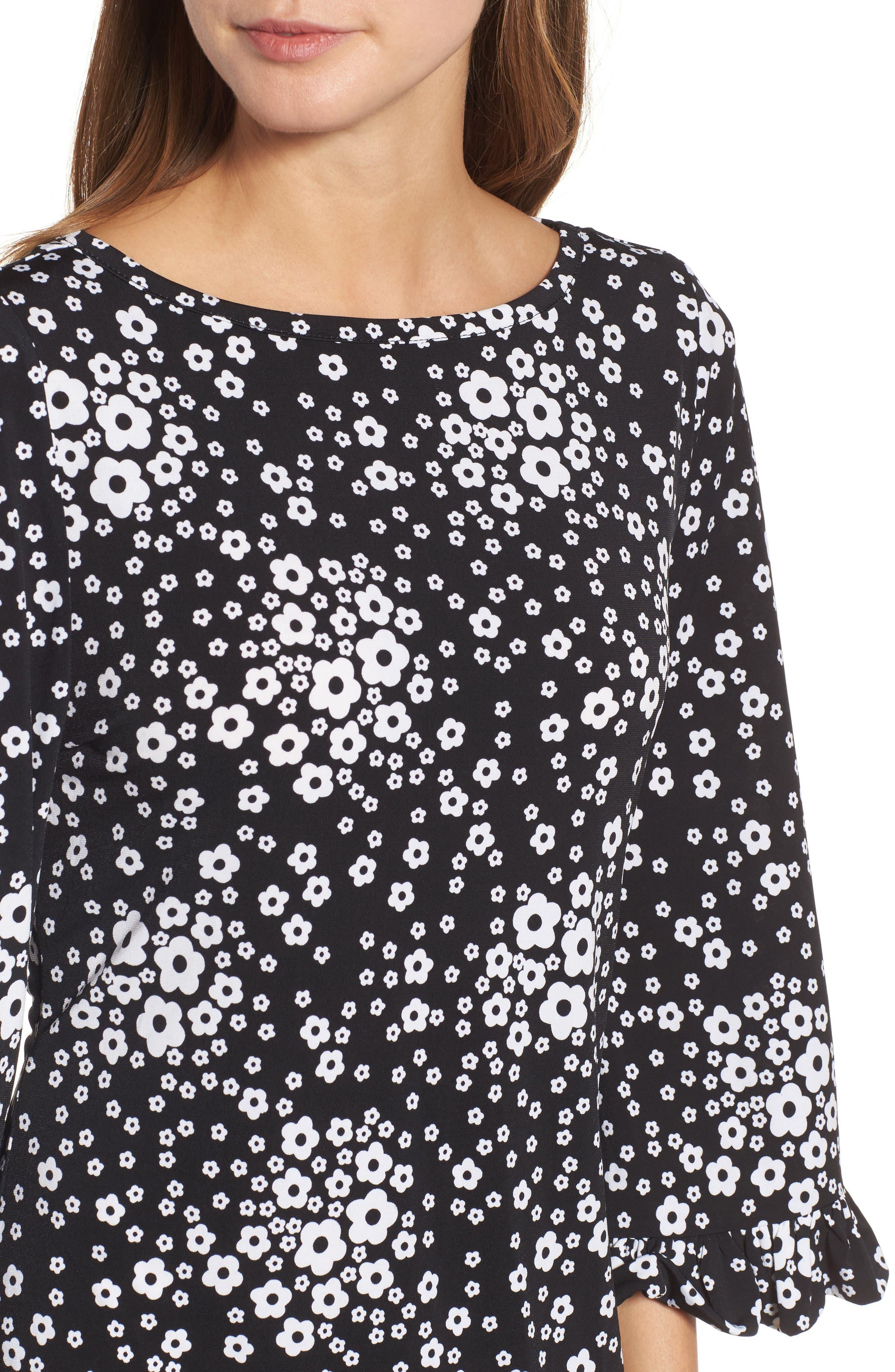 Floral Mod Shift Dress,                             Alternate thumbnail 4, color,                             Black/ White