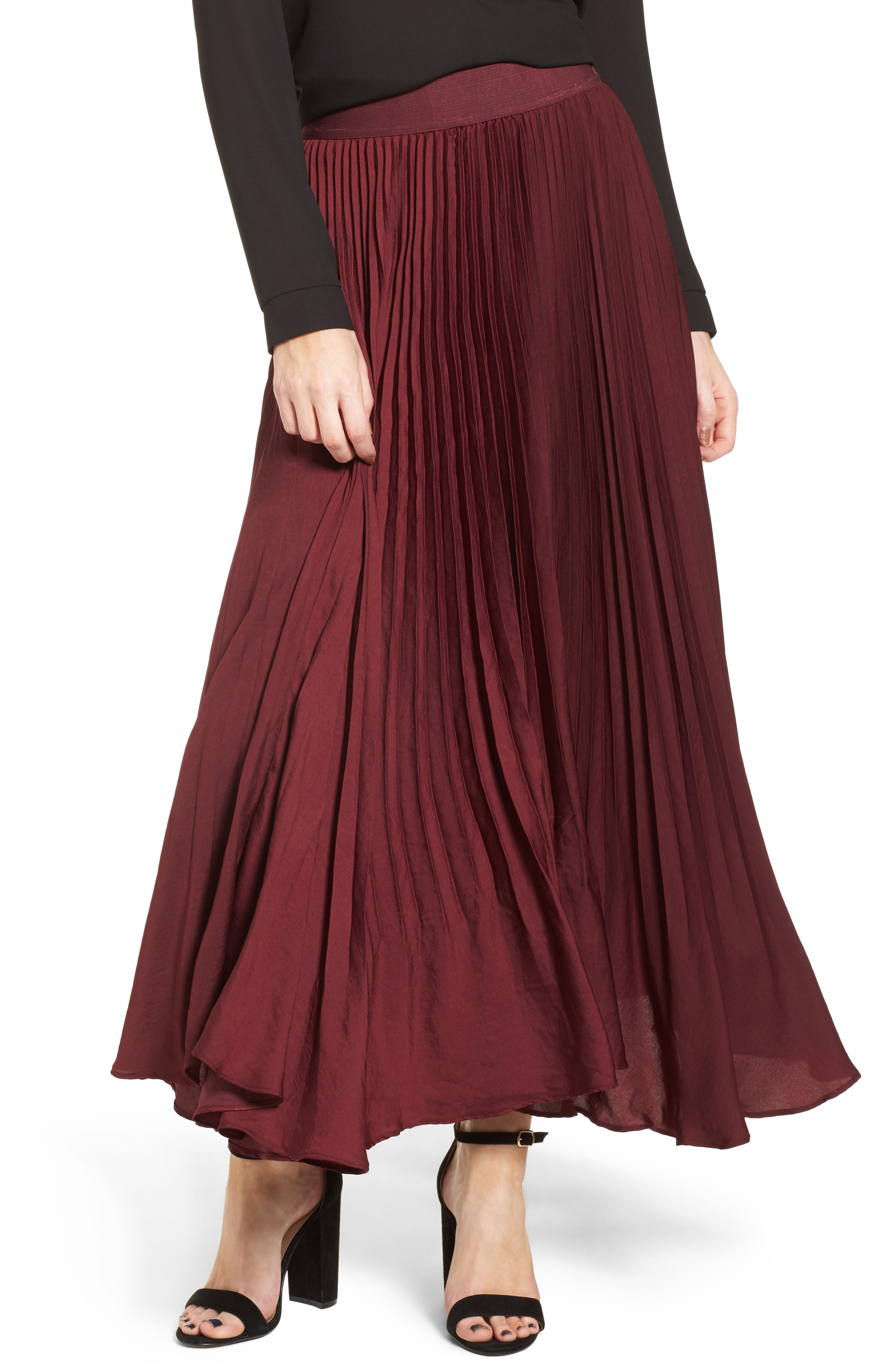 Pleated Midi Skirt,                             Main thumbnail 1, color,                             Burgundy