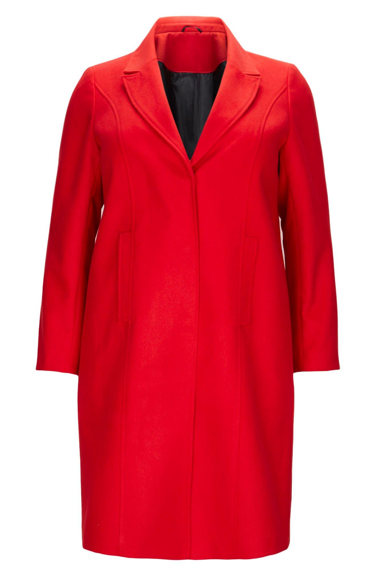 Longline Coat,                             Alternate thumbnail 4, color,                             Red