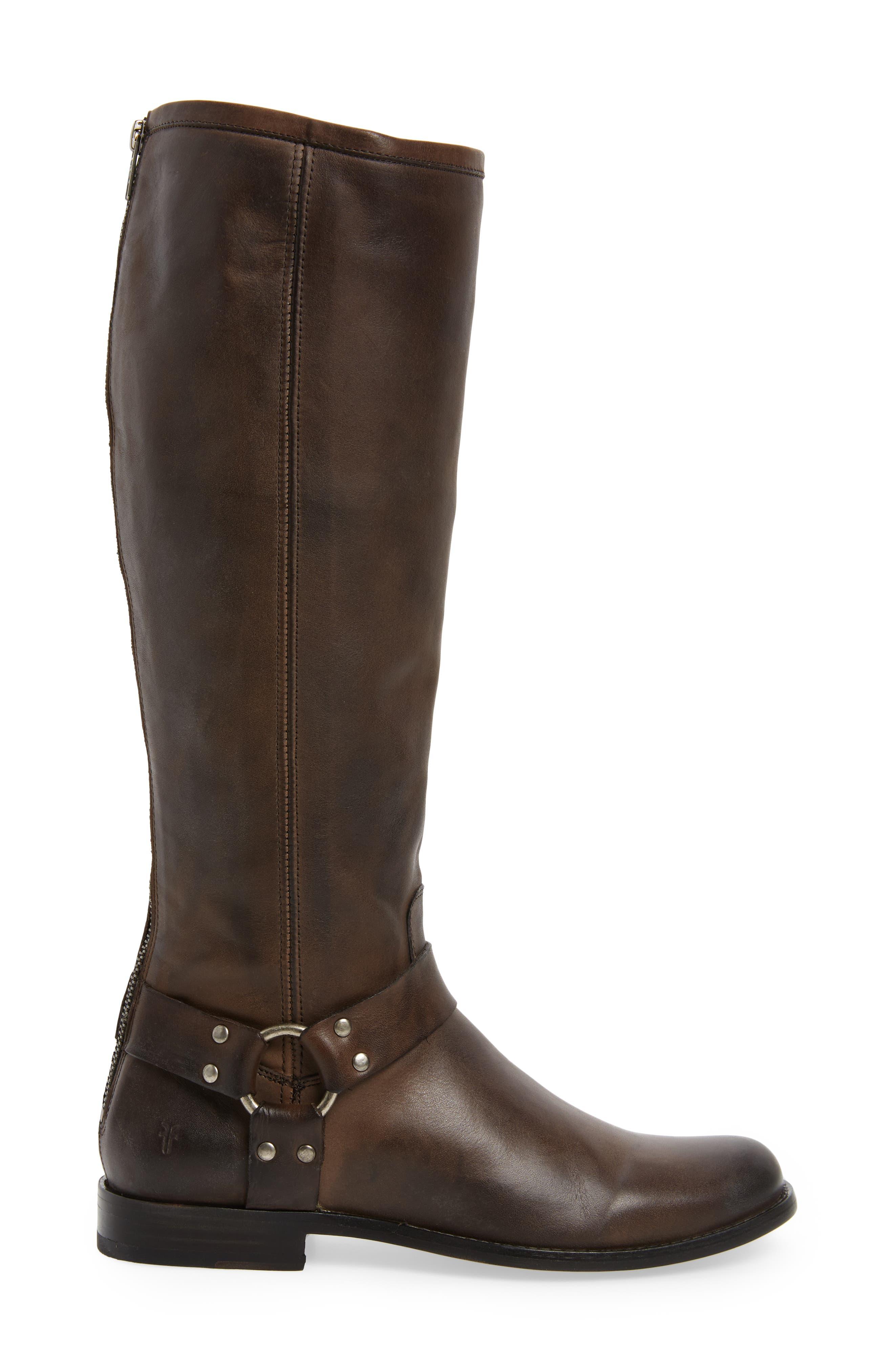 Phillip Harness Tall Boot,                             Alternate thumbnail 3, color,                             Smoke Leather