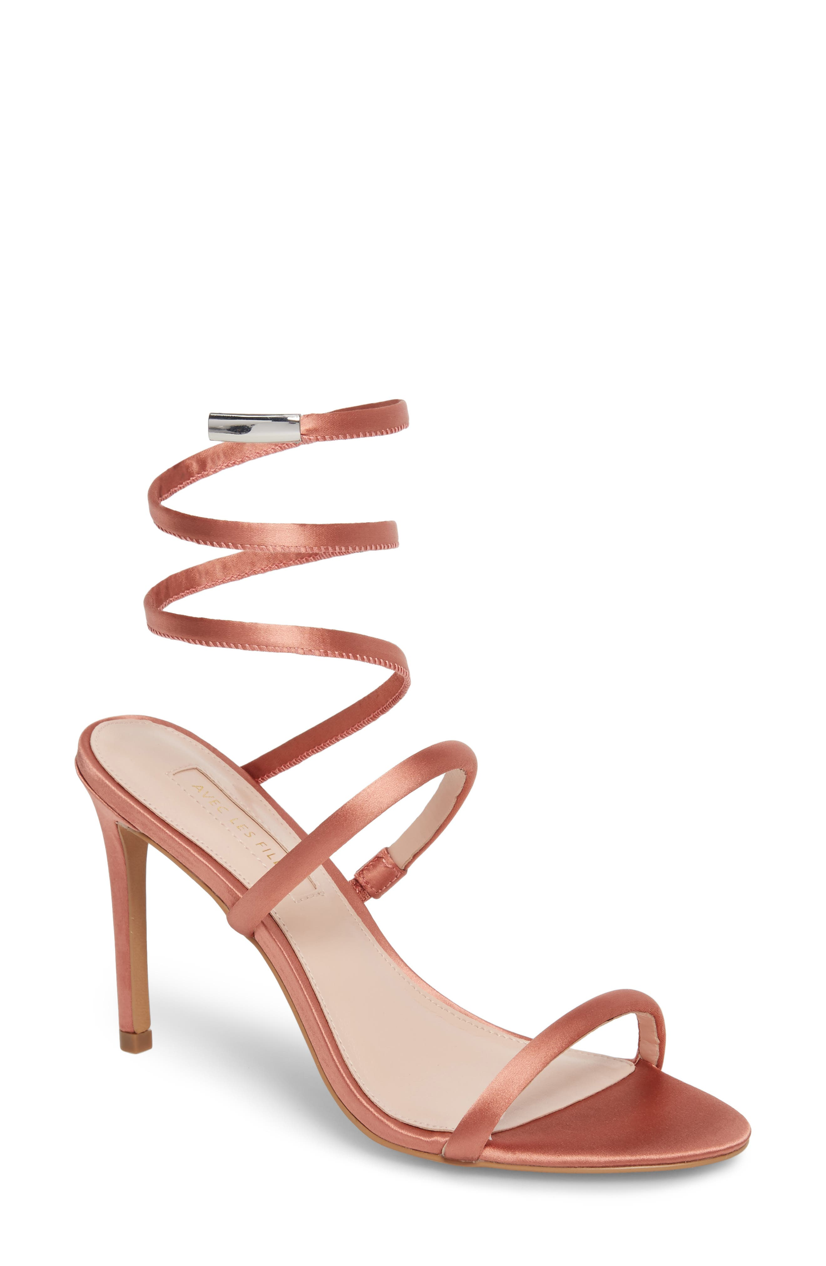 Joia Ankle Wrap Sandal,                             Main thumbnail 1, color,                             Dusty Rose Fabric