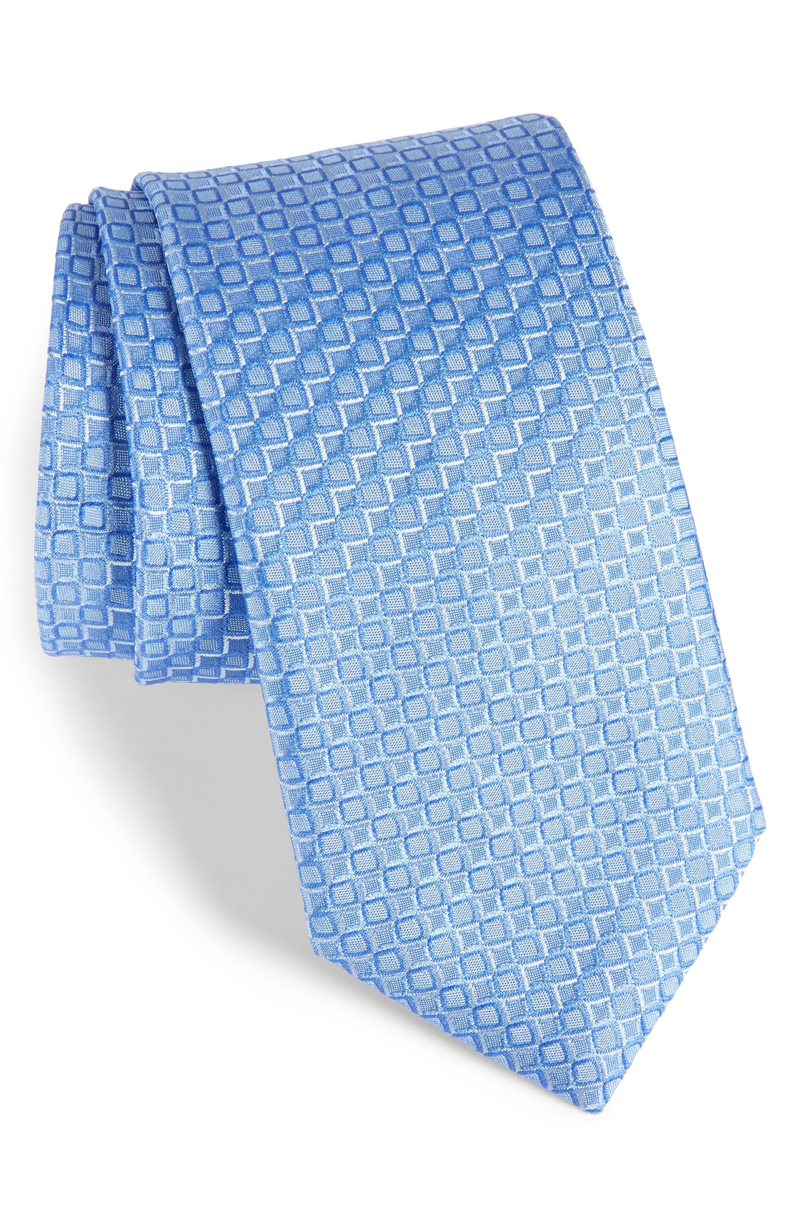 Geometric Silk Tie,                             Main thumbnail 1, color,                             Light Blue