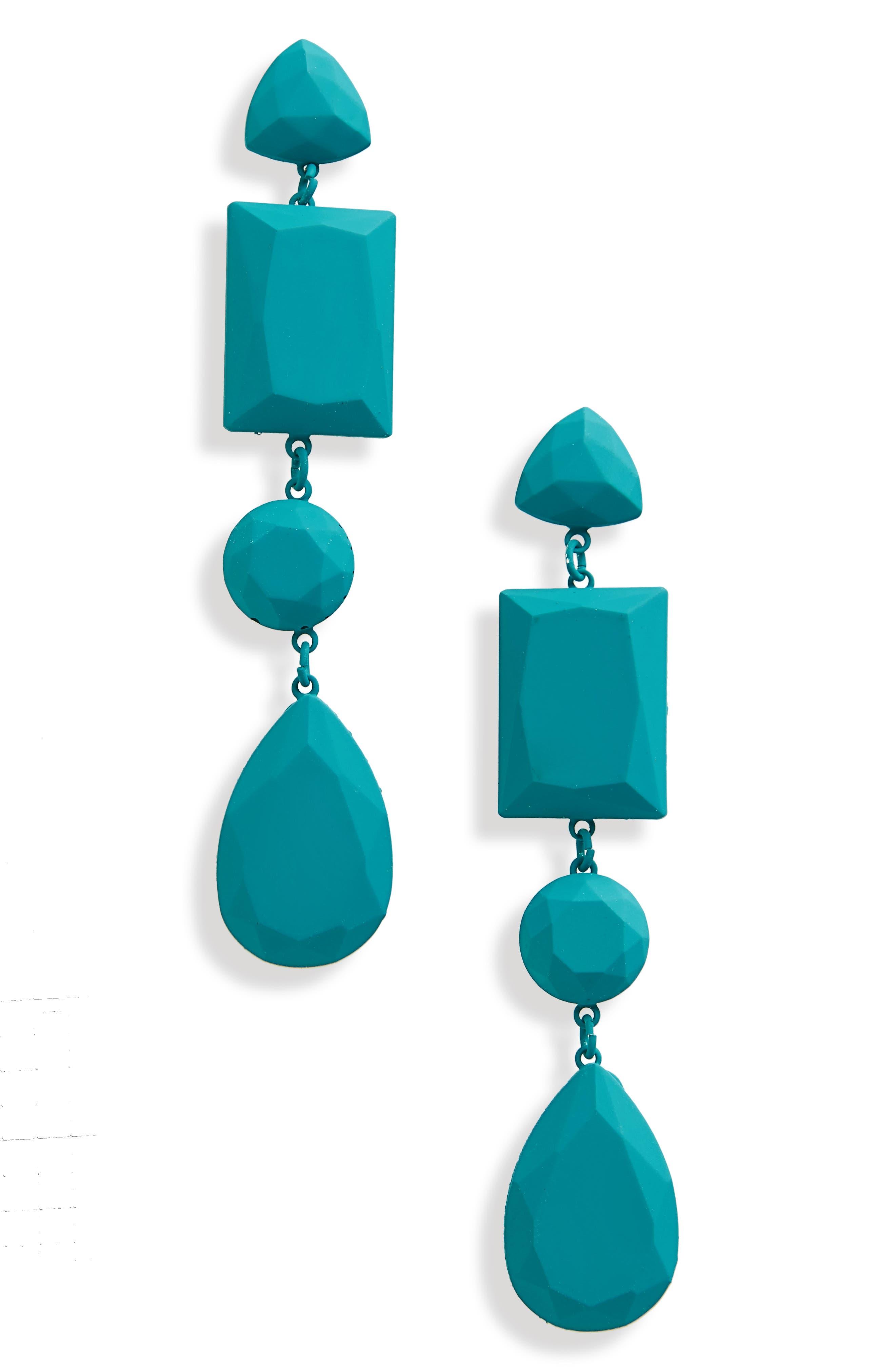 Geometric Drop Earrings,                         Main,                         color, Turquoise