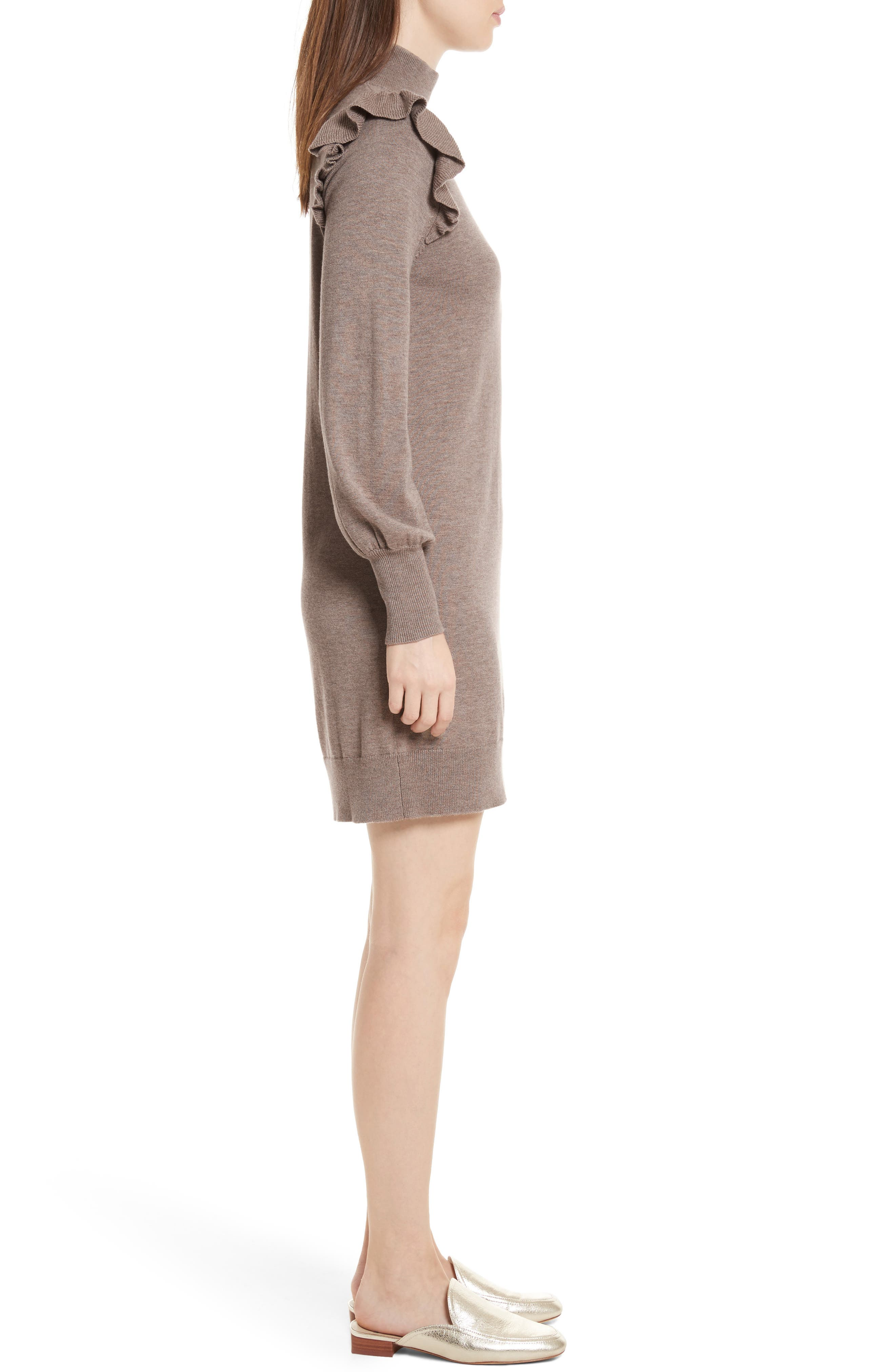 Catriona Wool & Silk Sweater Dress,                             Alternate thumbnail 3, color,                             Heather Mushroom
