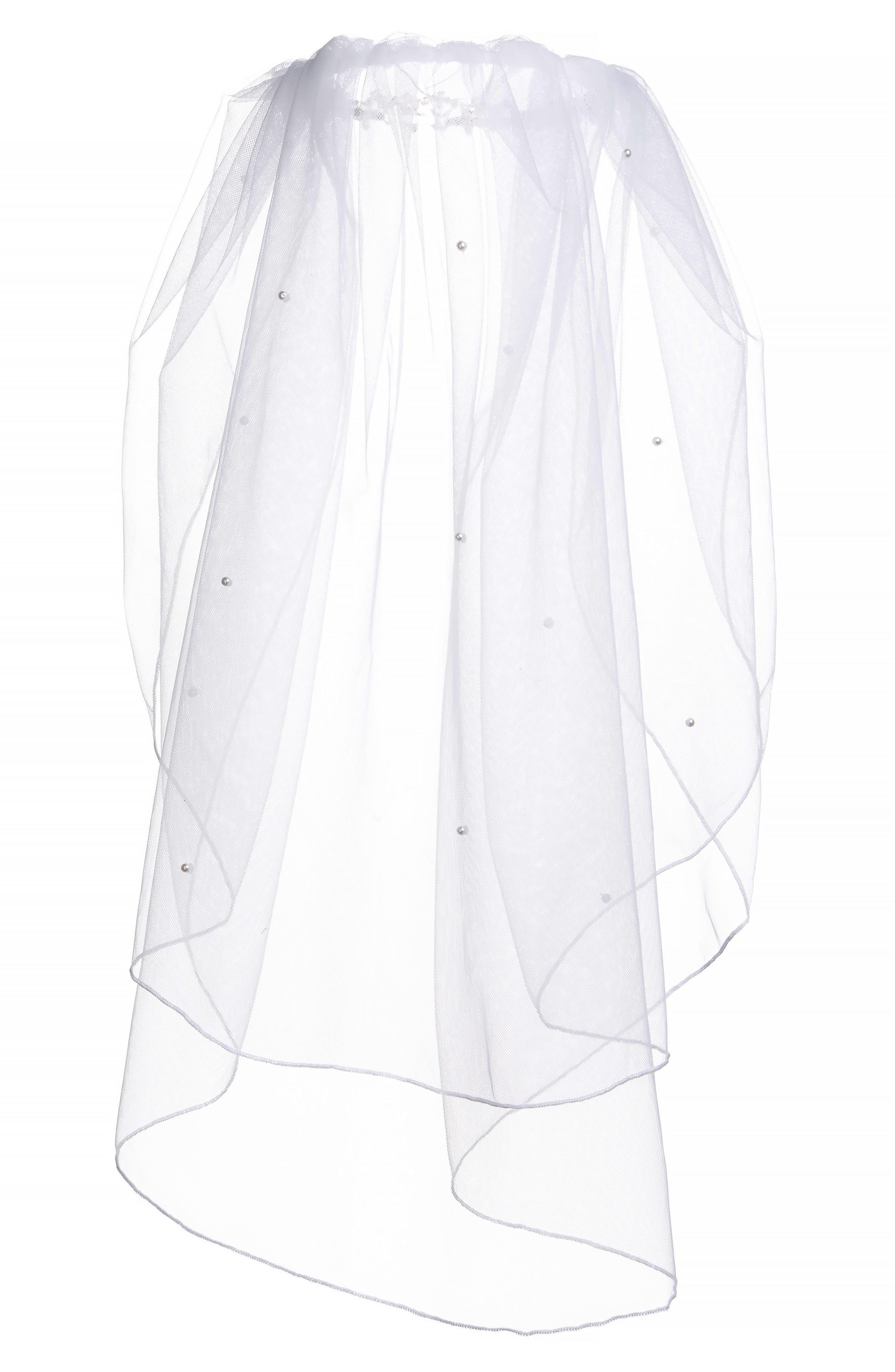 Alternate Image 4  - Lauren Marie Imitation Pearl Crown & Veil (Big Girls)