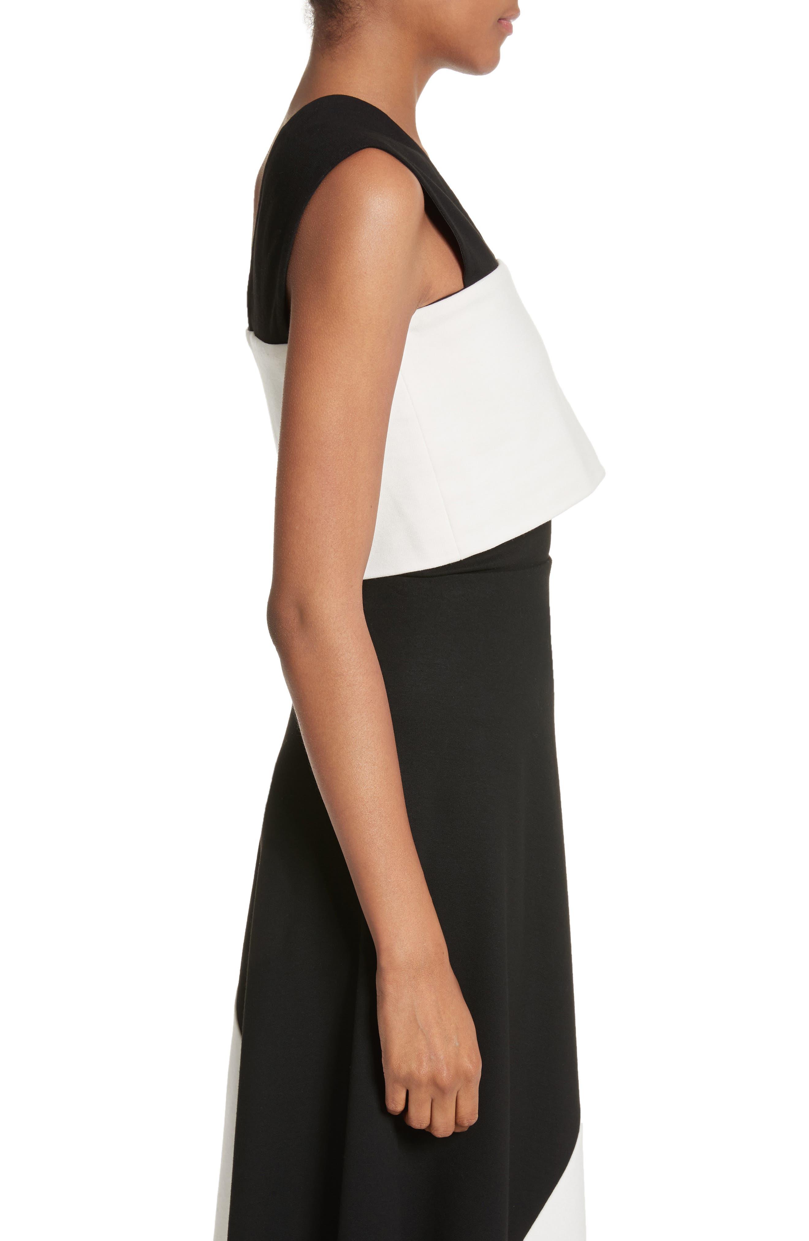 One-Shoulder Jersey Top,                             Alternate thumbnail 3, color,                             Black/ Ivory