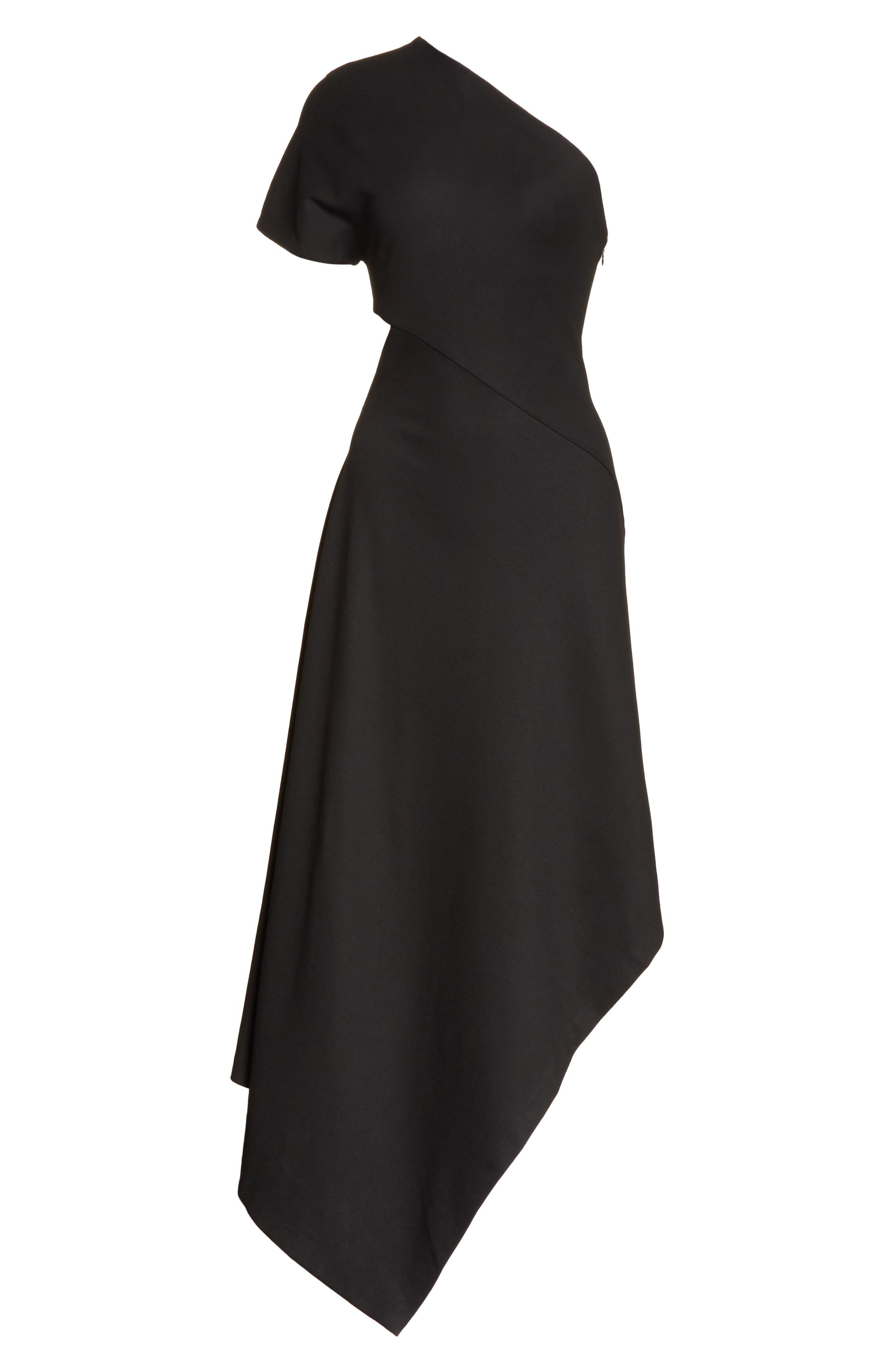 One-Shoulder Asymmetrical Jersey Dress,                             Alternate thumbnail 7, color,                             Black