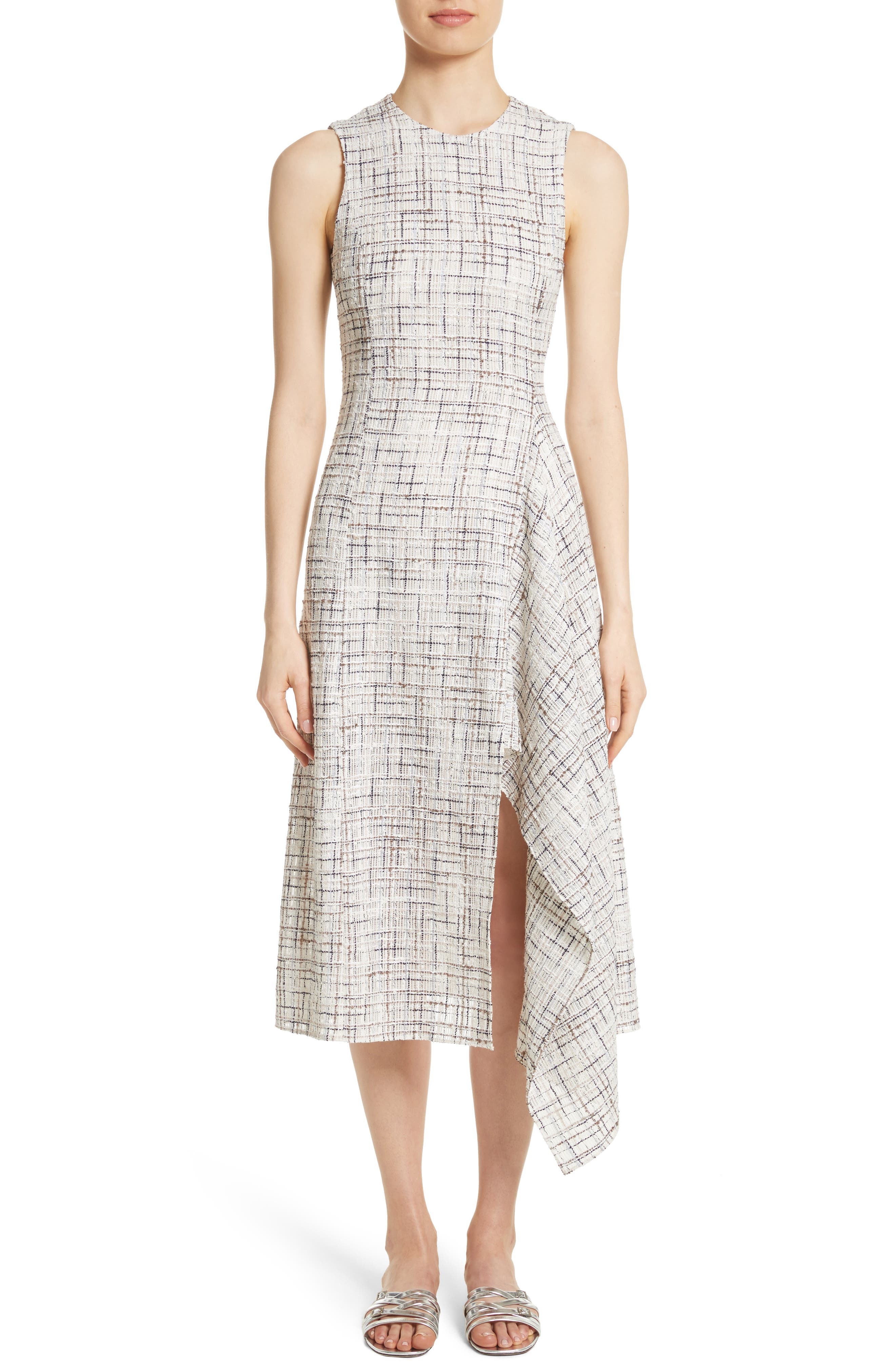 Rosetta Getty Draped Tweed Dress