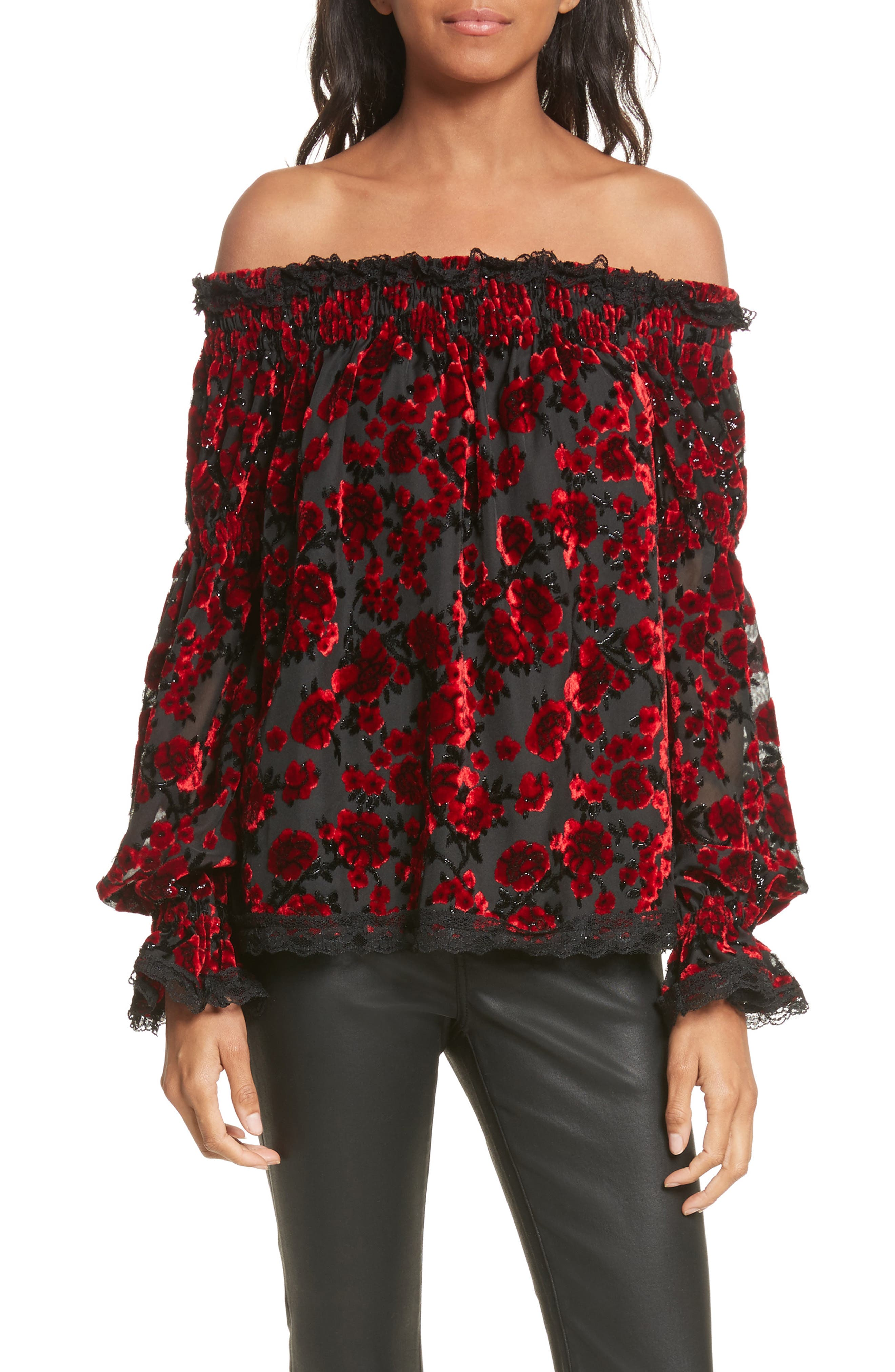 The Kooples Floral Devoré Off the Shoulder Top