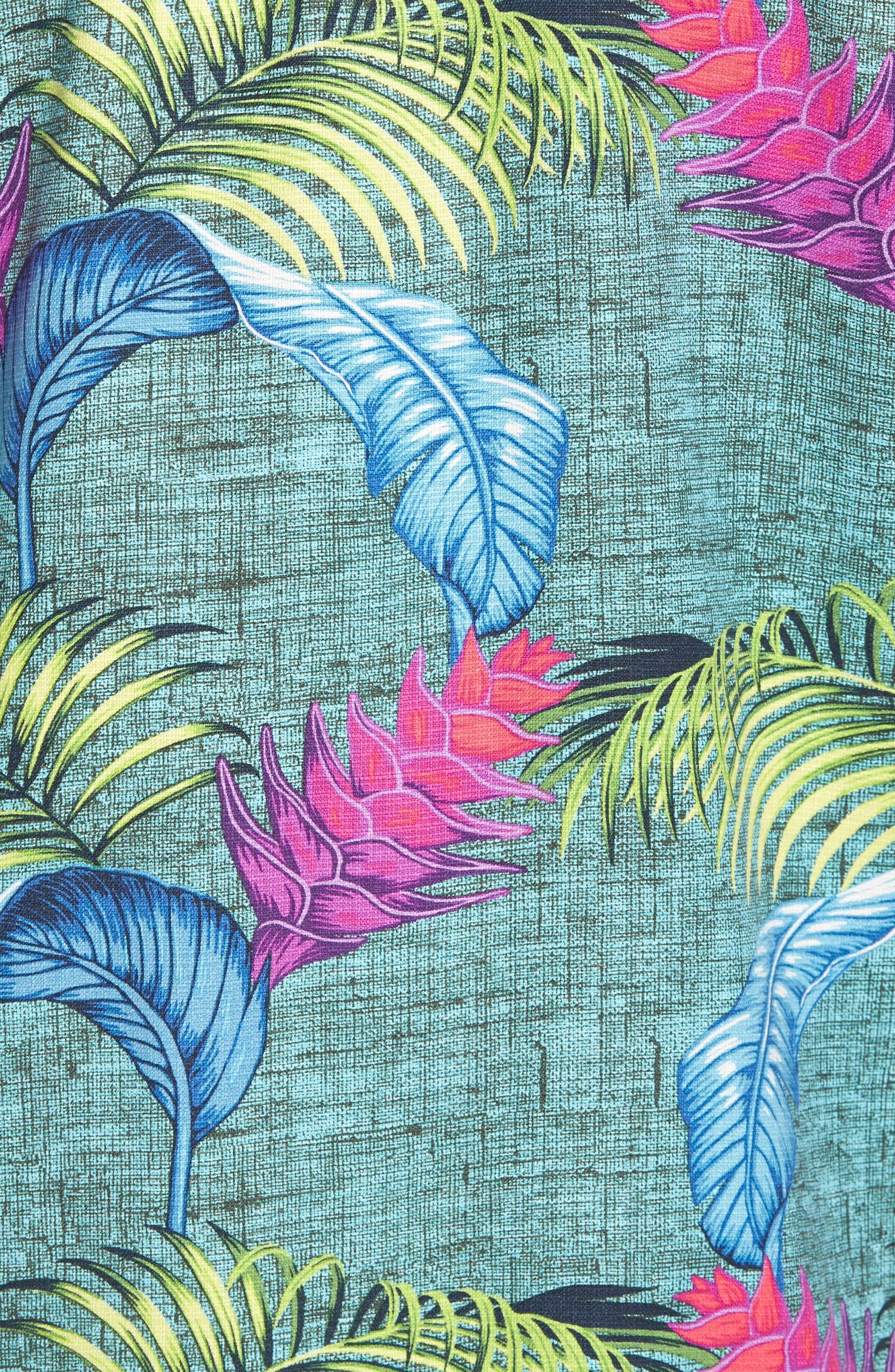 Boca Bouquet Silk Camp Shirt,                             Alternate thumbnail 5, color,                             Grand Canal