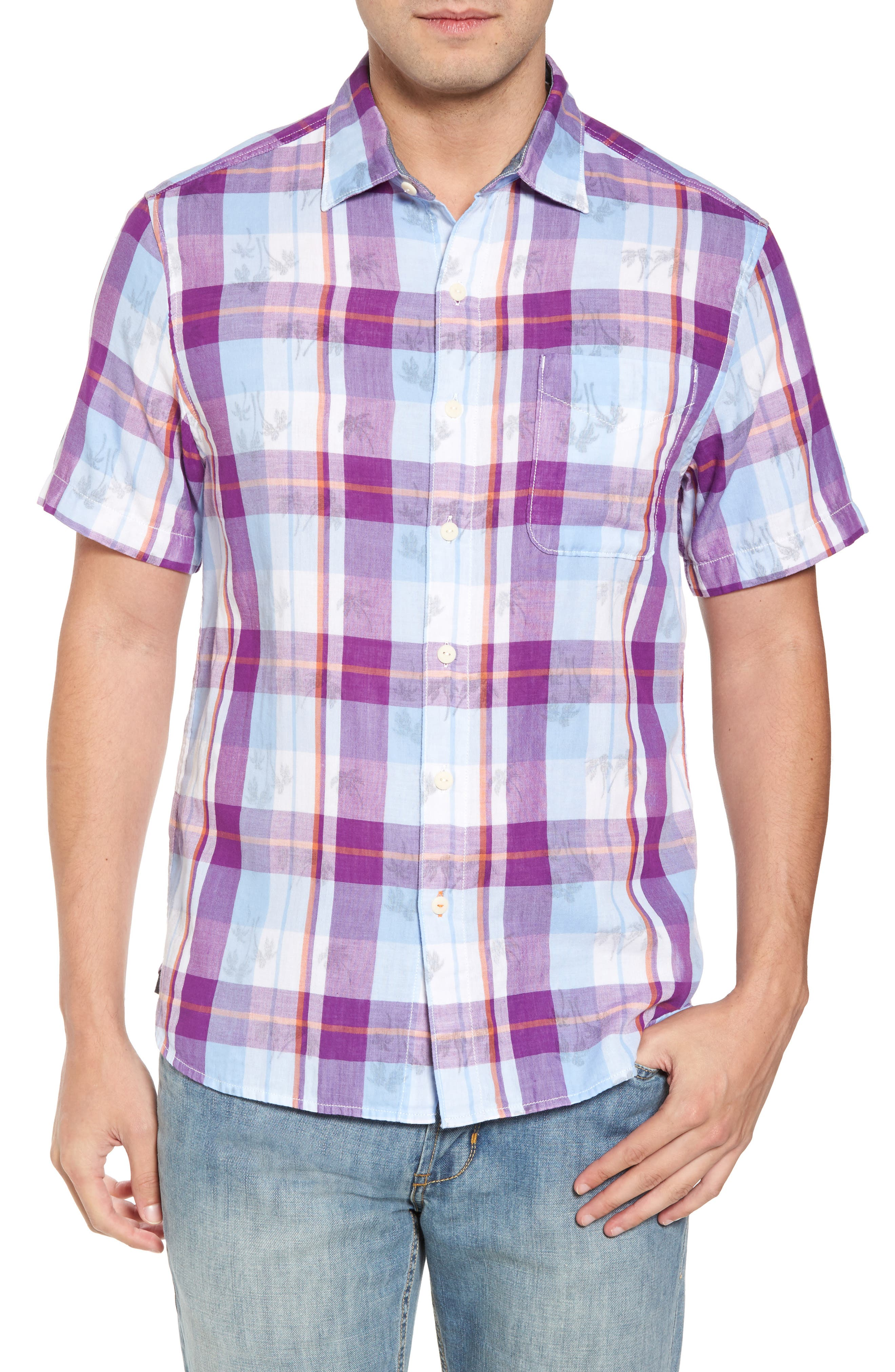 Double Flora Plaid Cotton Camp Shirt,                             Main thumbnail 1, color,                             Spring Fuchsia