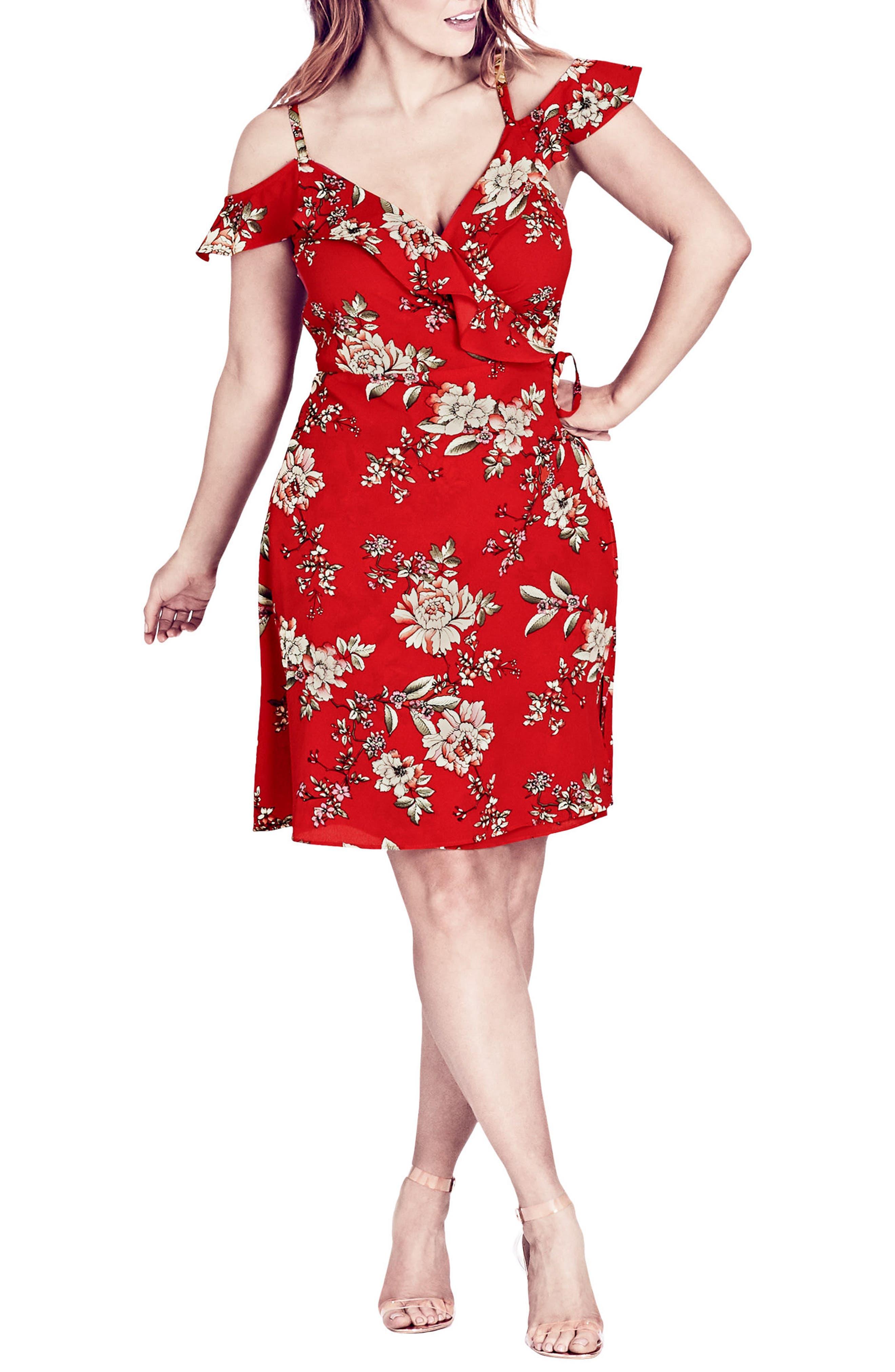 City Chic Wild Floral Cold Shoulder Dress (Plus Size)