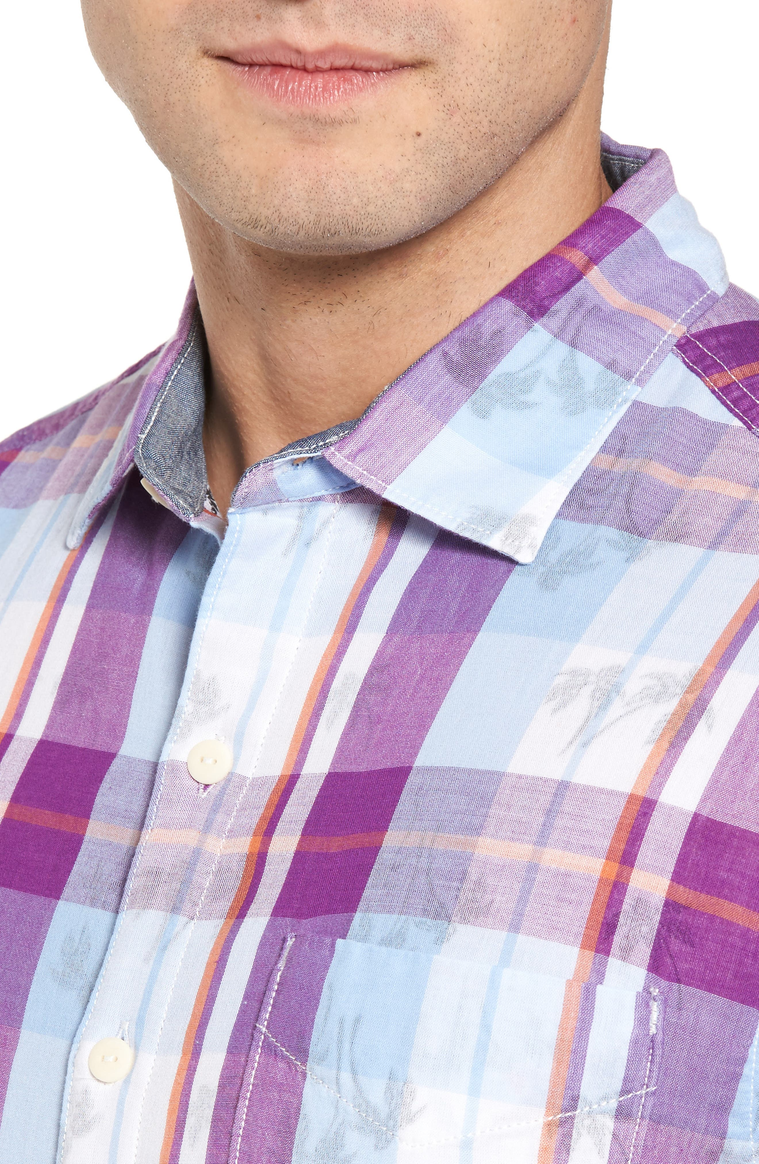 Double Flora Plaid Cotton Camp Shirt,                             Alternate thumbnail 4, color,                             Spring Fuchsia