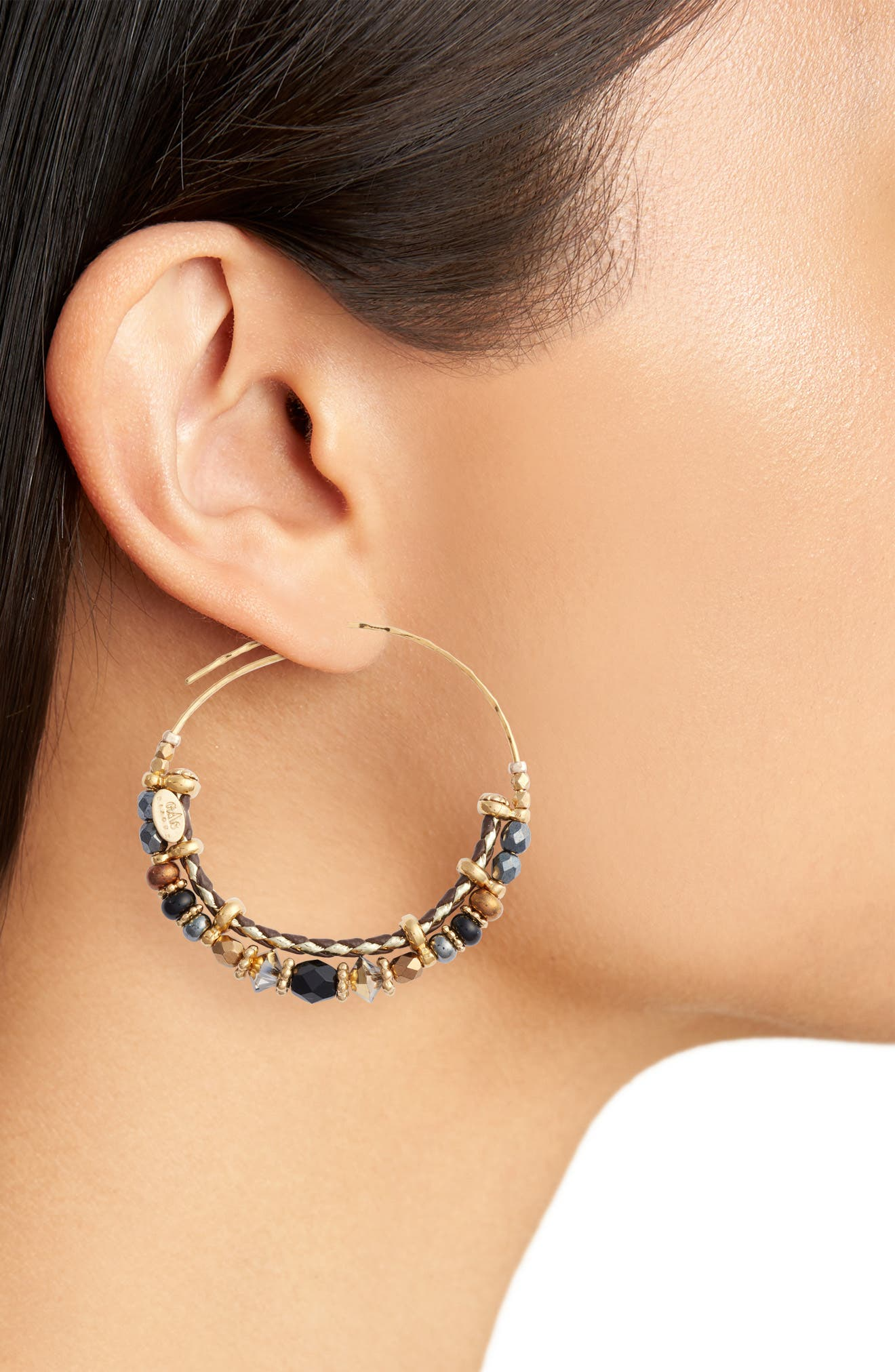 Comedia Small Hoop Earrings,                             Alternate thumbnail 2, color,                             Black/ Gold