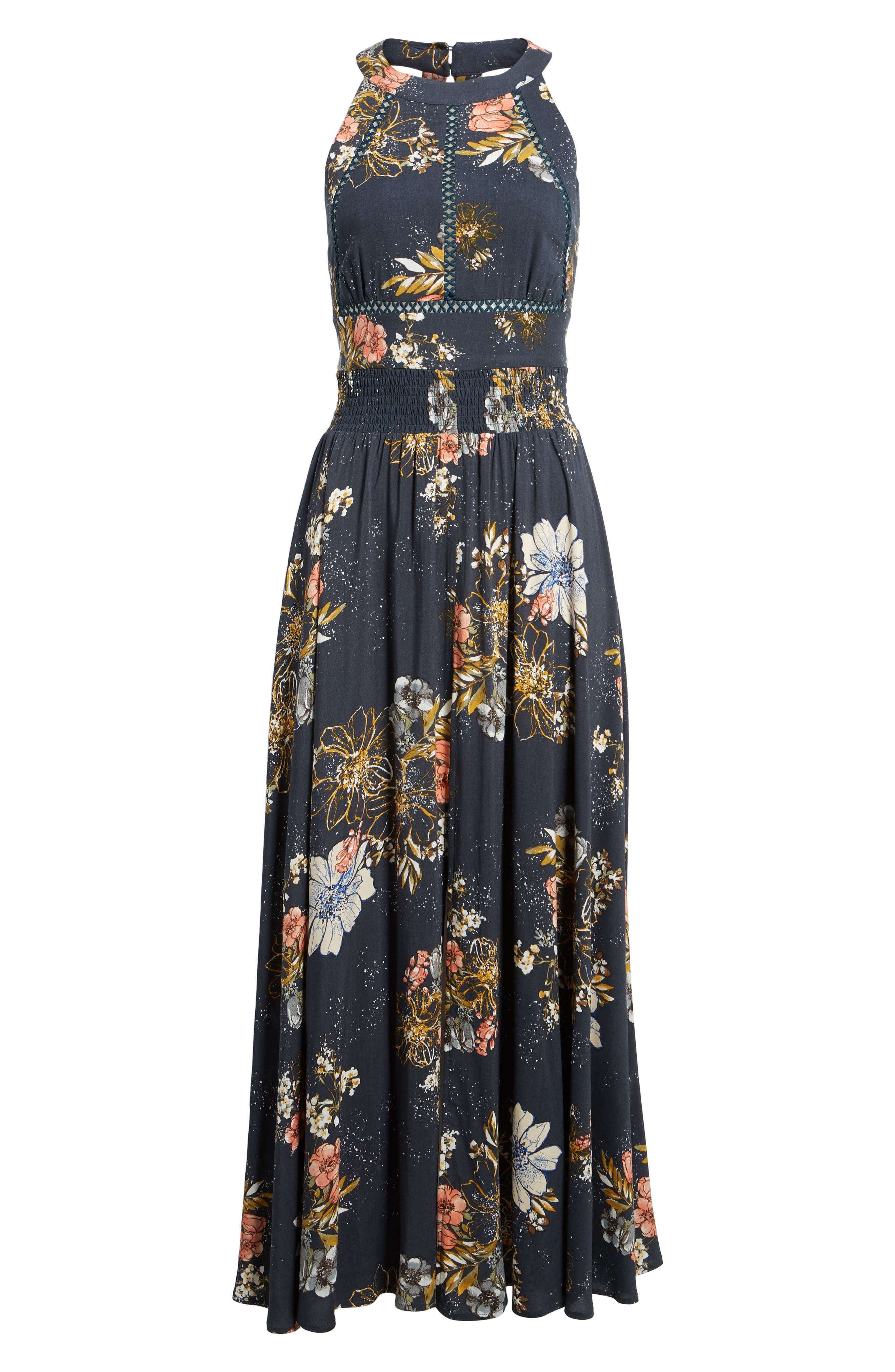 Floral Print Halter Maxi Dress,                             Alternate thumbnail 7, color,                             Navy Egret Abstract Floral