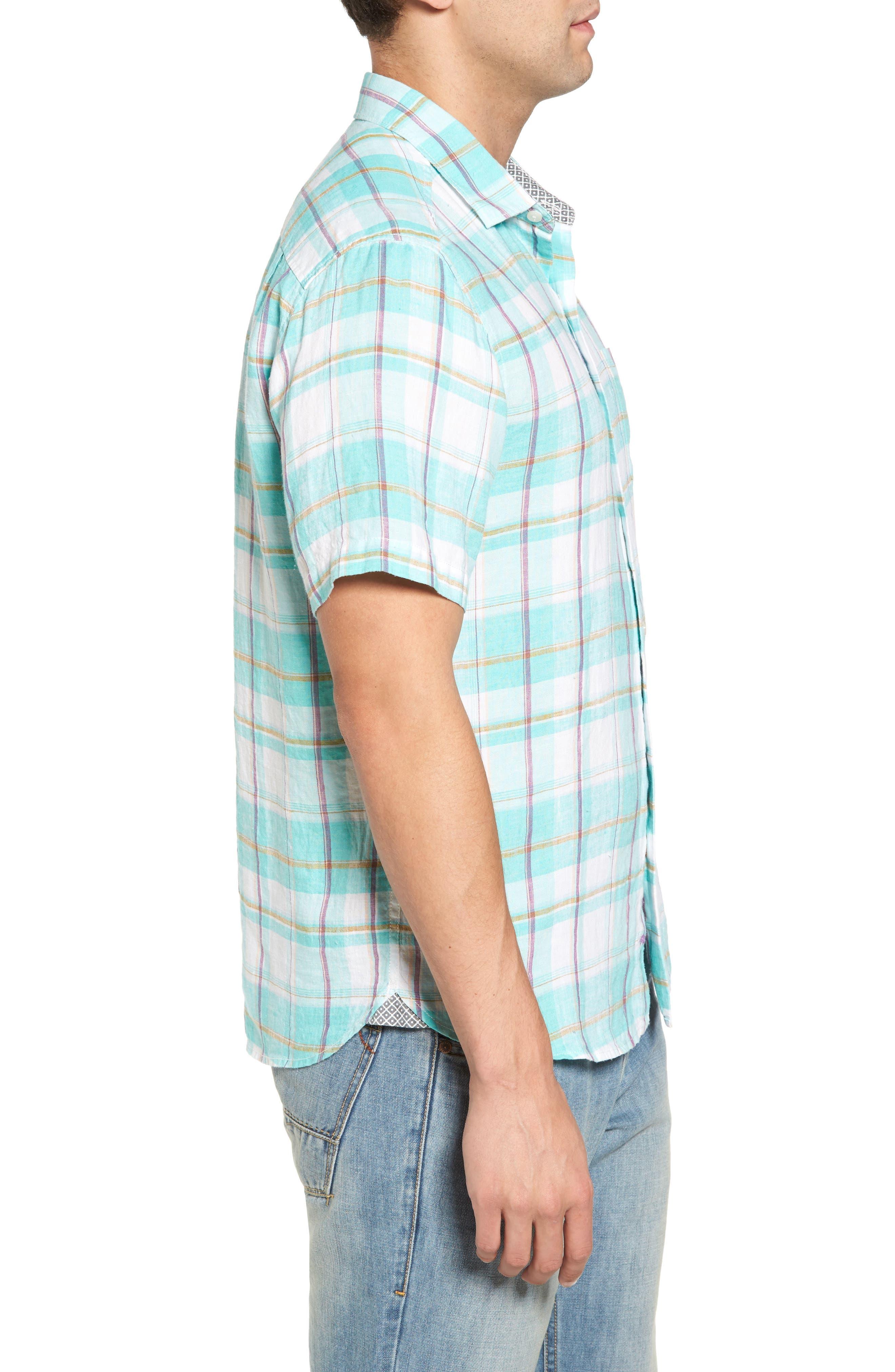 Lauderdale Regular Fit Sport Shirt,                             Alternate thumbnail 3, color,                             Dusty Aqua