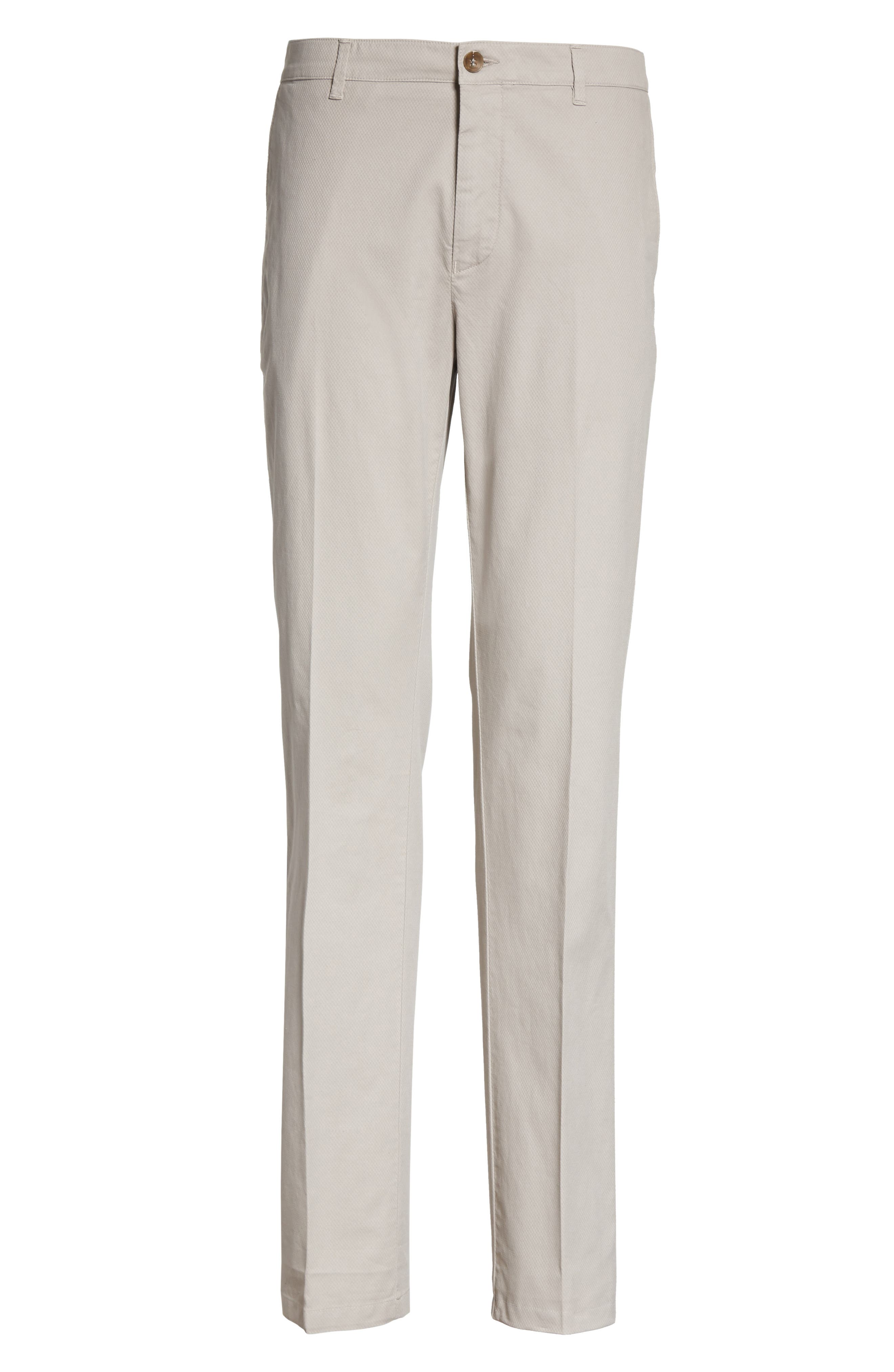 Flat Front Stretch Solid Cotton Trousers,                             Alternate thumbnail 6, color,                             Stone