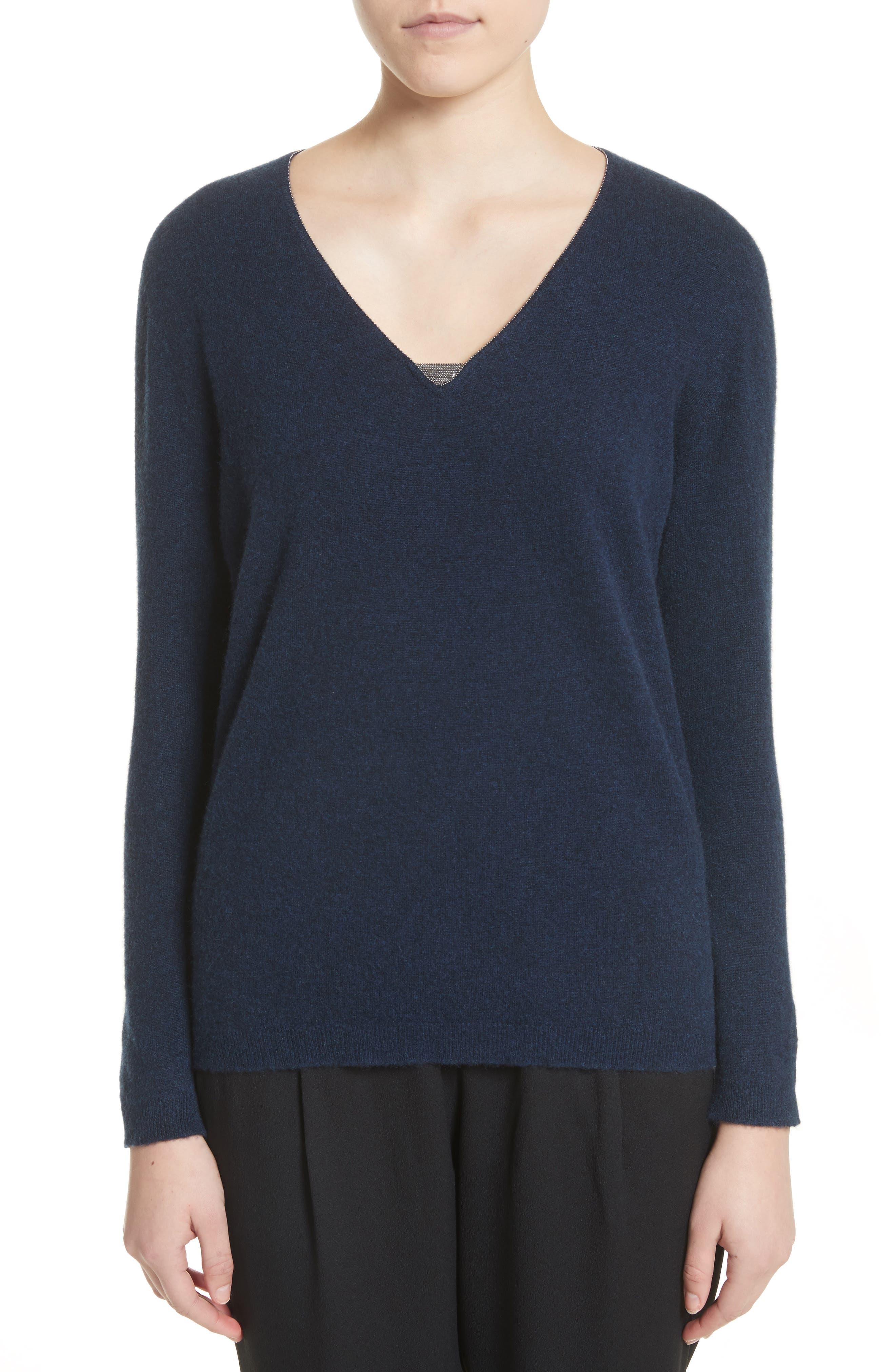 V-Neck Cashmere Sweater,                         Main,                         color, Navy