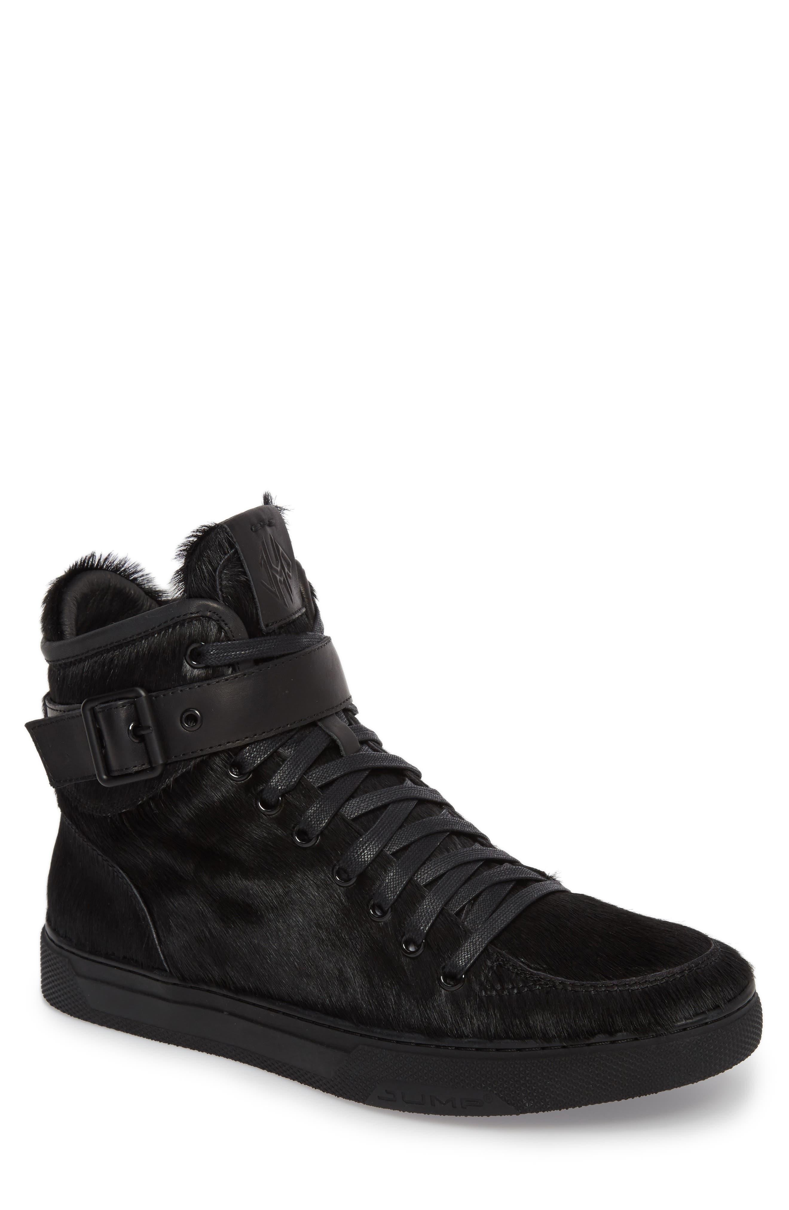 Sullivan Genuine Calf Hair High Top Sneaker,                             Main thumbnail 1, color,                             Black Fur Leather