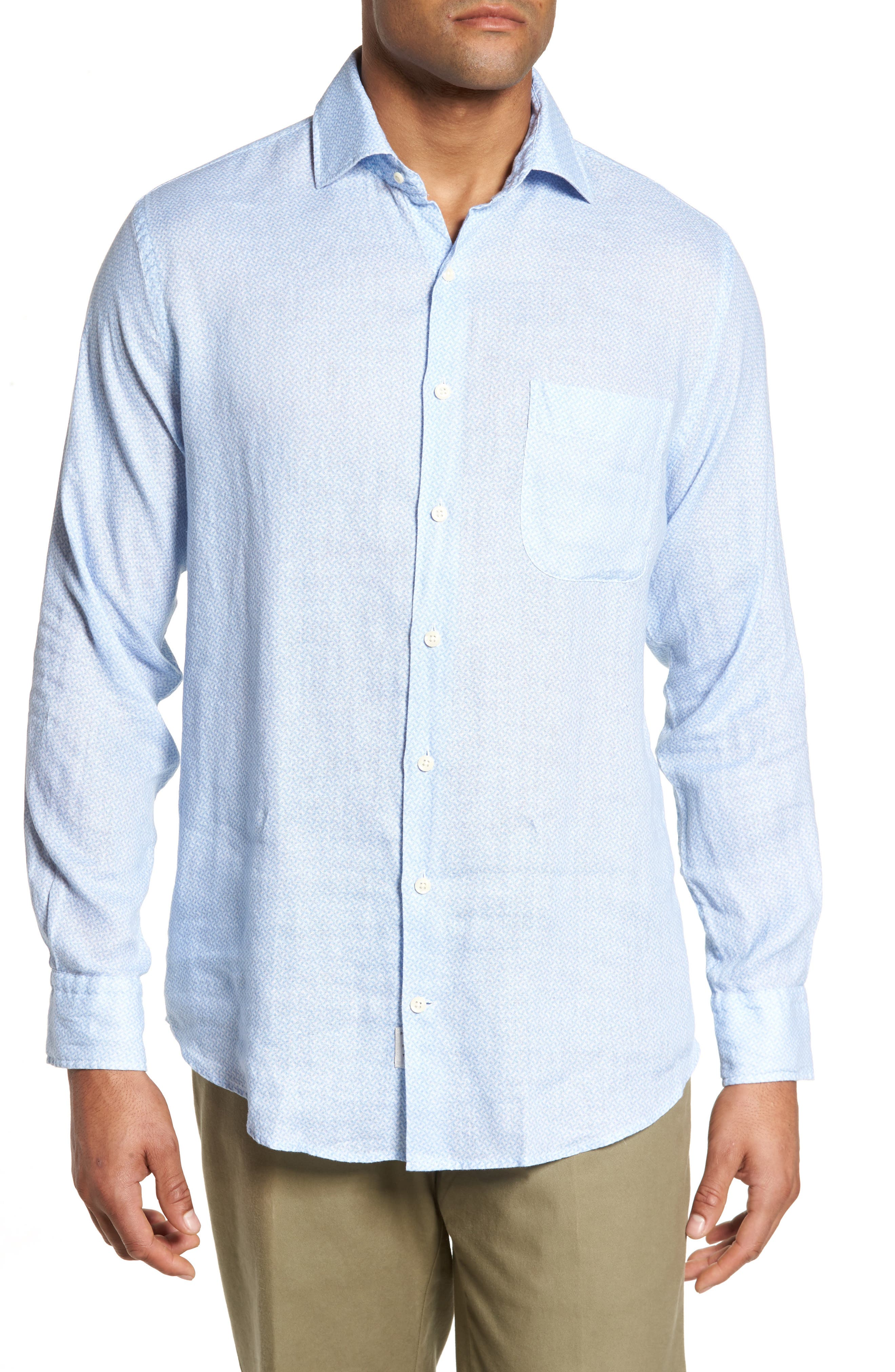 Whirlwind Regular Fit Linen Sport Shirt,                         Main,                         color, Tar Heel Blue