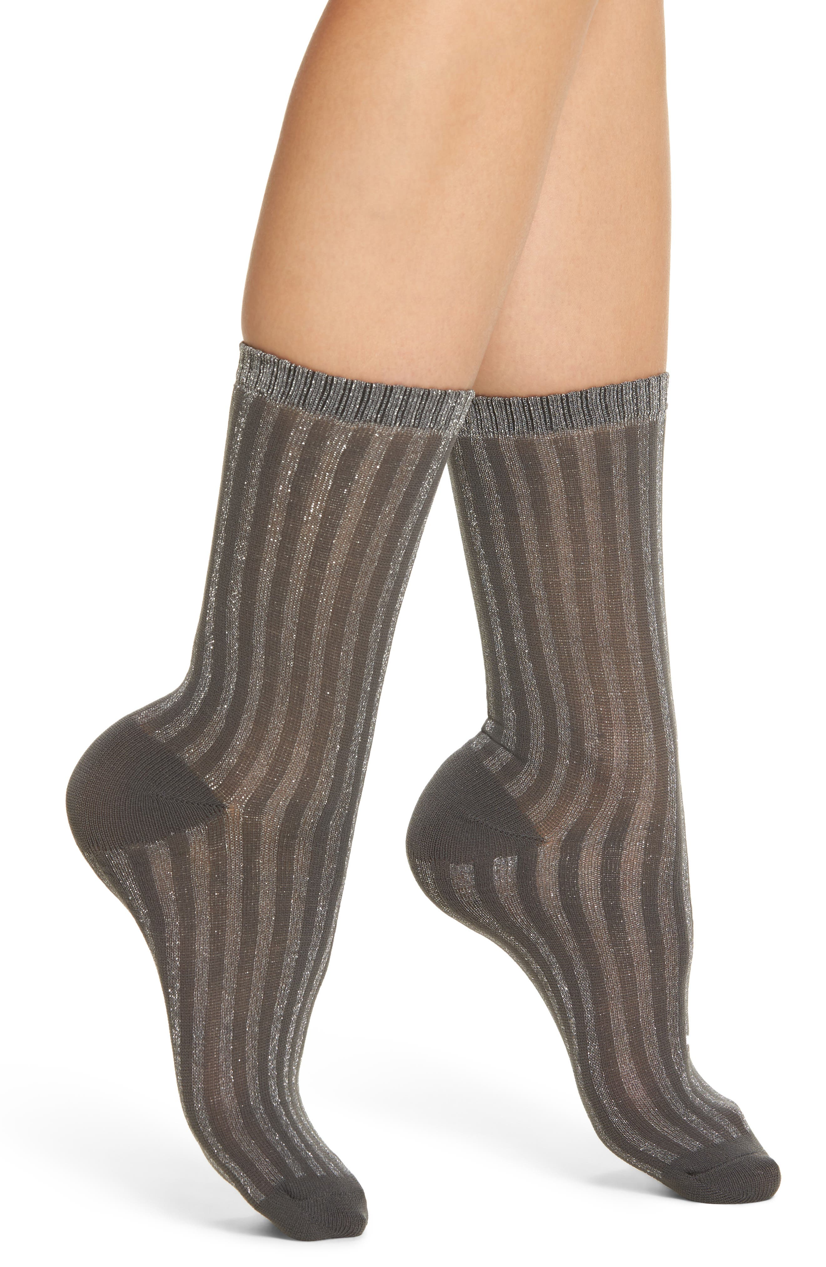 Metallic Stripe Crew Socks,                             Main thumbnail 1, color,                             Charcoal
