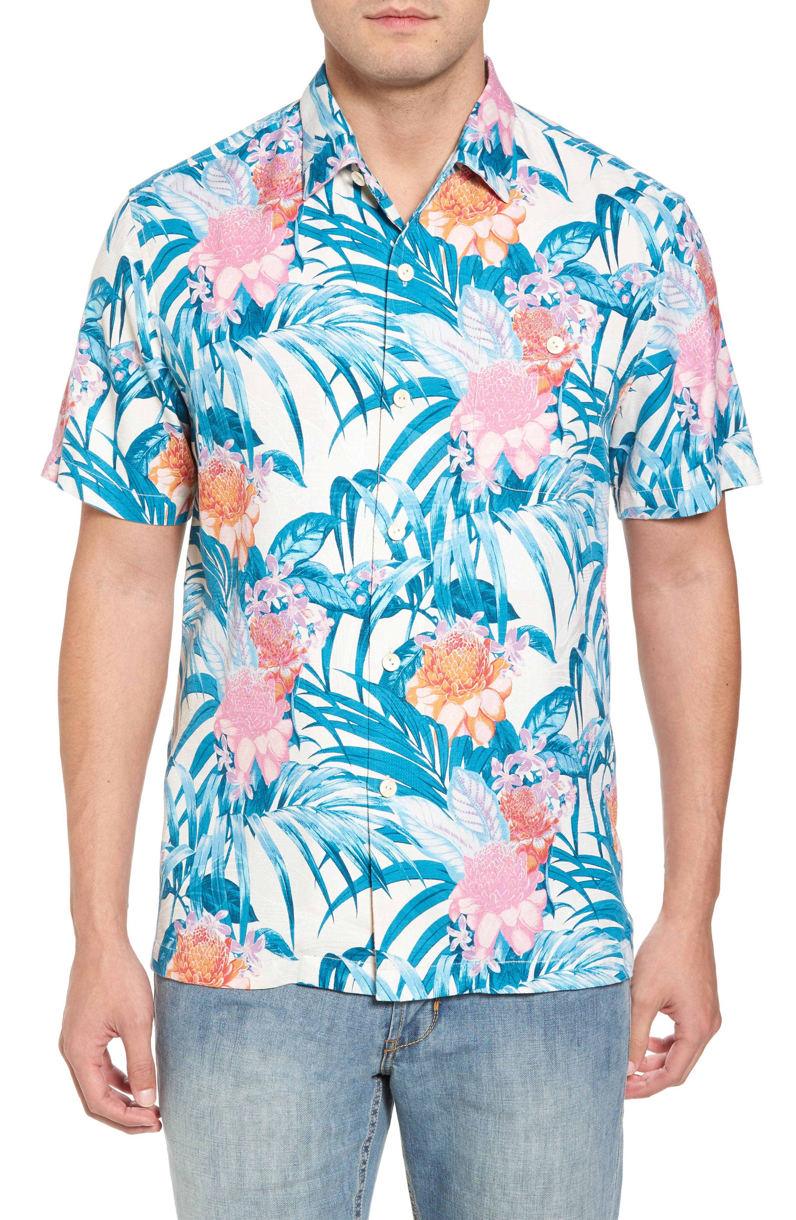 Main Image - Tommy Bahama Garden of Hope and Courage Silk Blend Camp Shirt