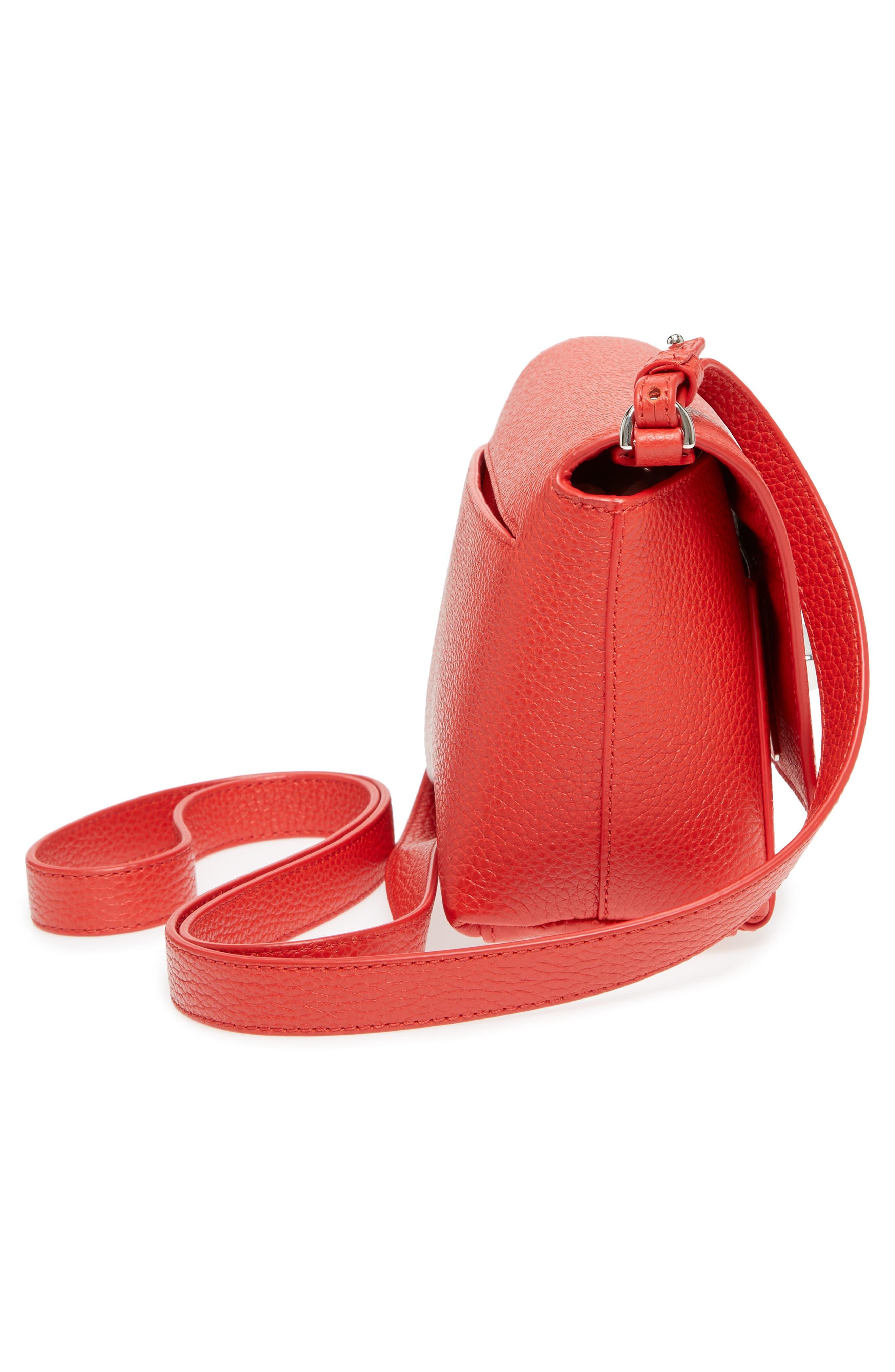 Little Anouk Calfskin Crossbody Bag,                             Alternate thumbnail 5, color,                             Scarlet