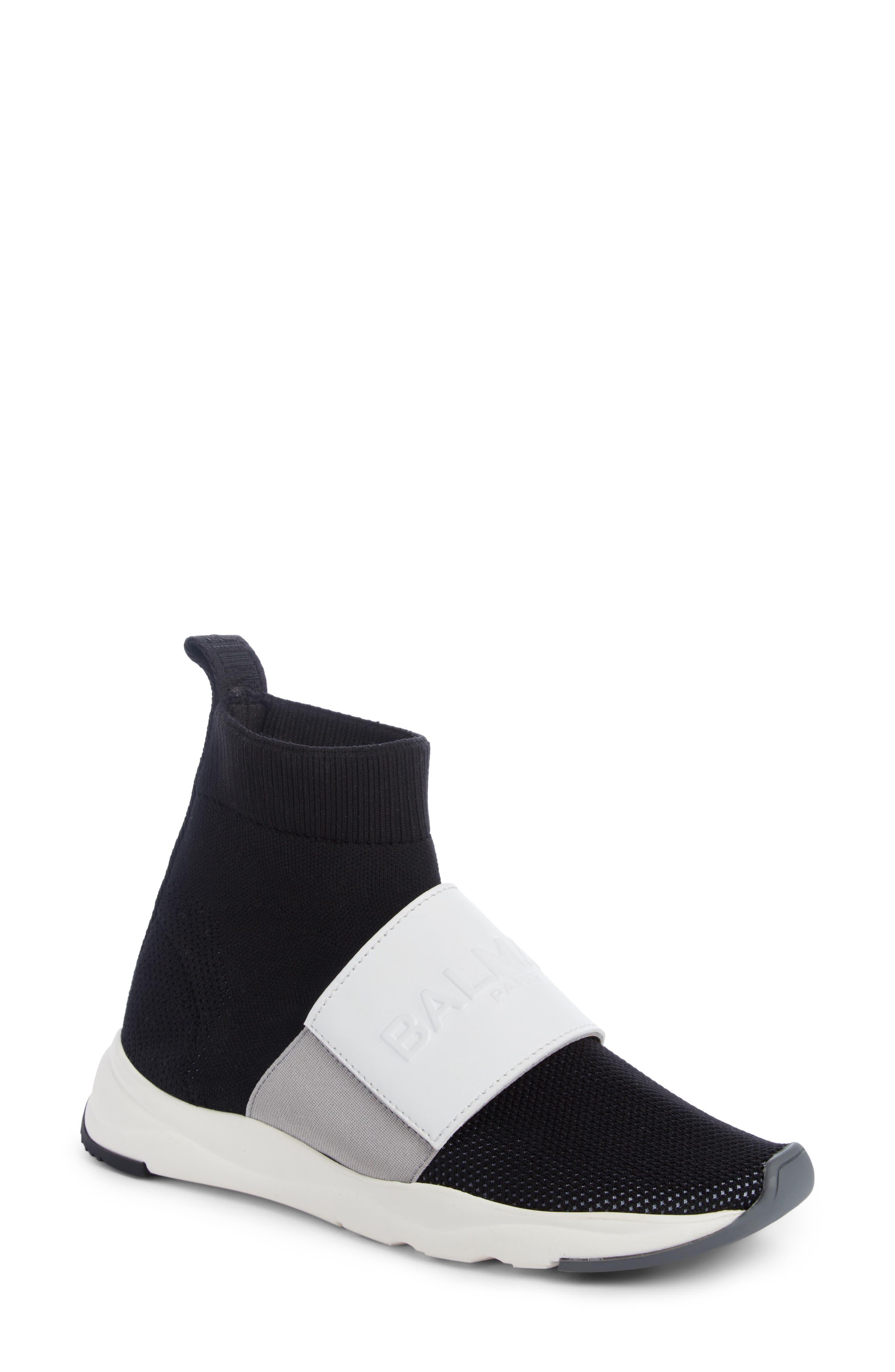 Cameron Logo Strap Sock Sneaker,                         Main,                         color, Black/ White