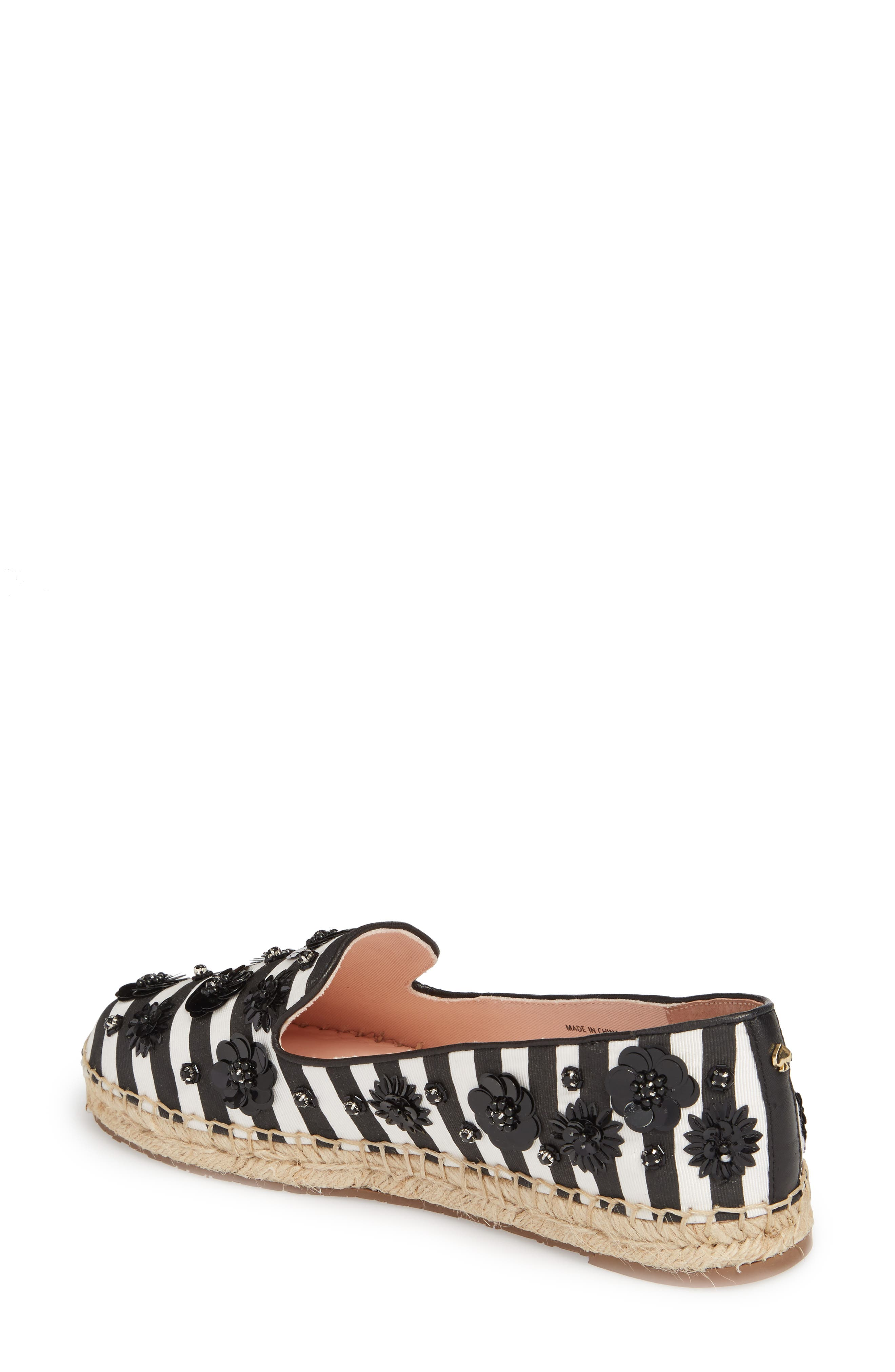 leigh embellished espadrille flat,                             Alternate thumbnail 2, color,                             Black/ White Striped