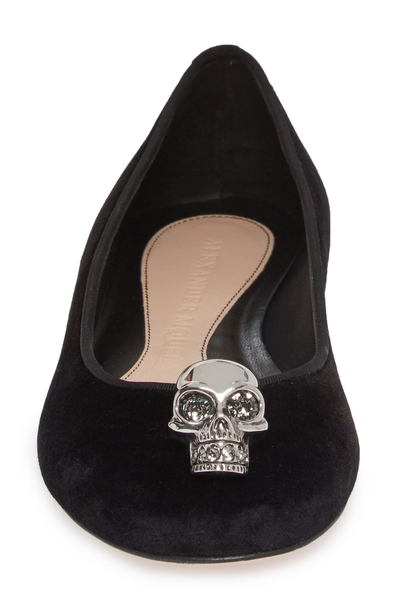 Skullhead Charm Flat,                             Alternate thumbnail 4, color,                             Black/ Silver