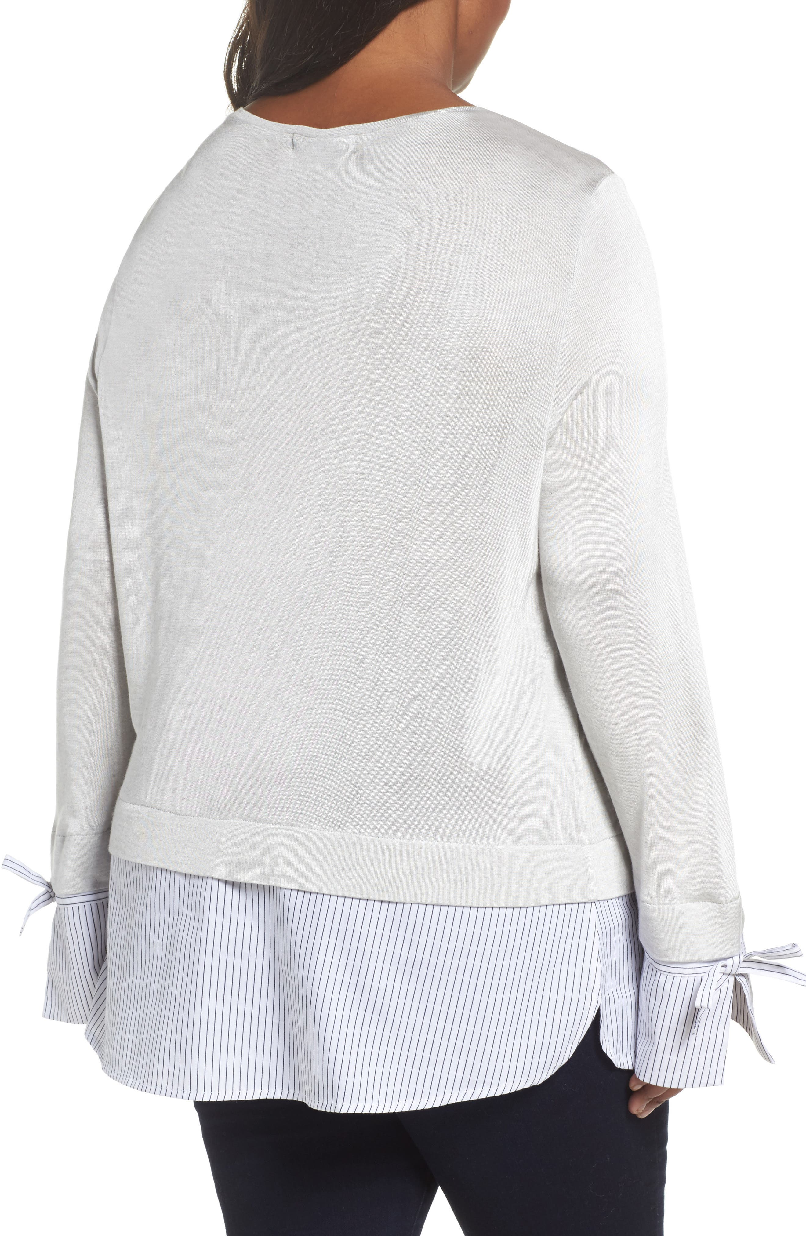 Mix Media Tie Cuff Top,                             Alternate thumbnail 2, color,                             Grey Heather Combo