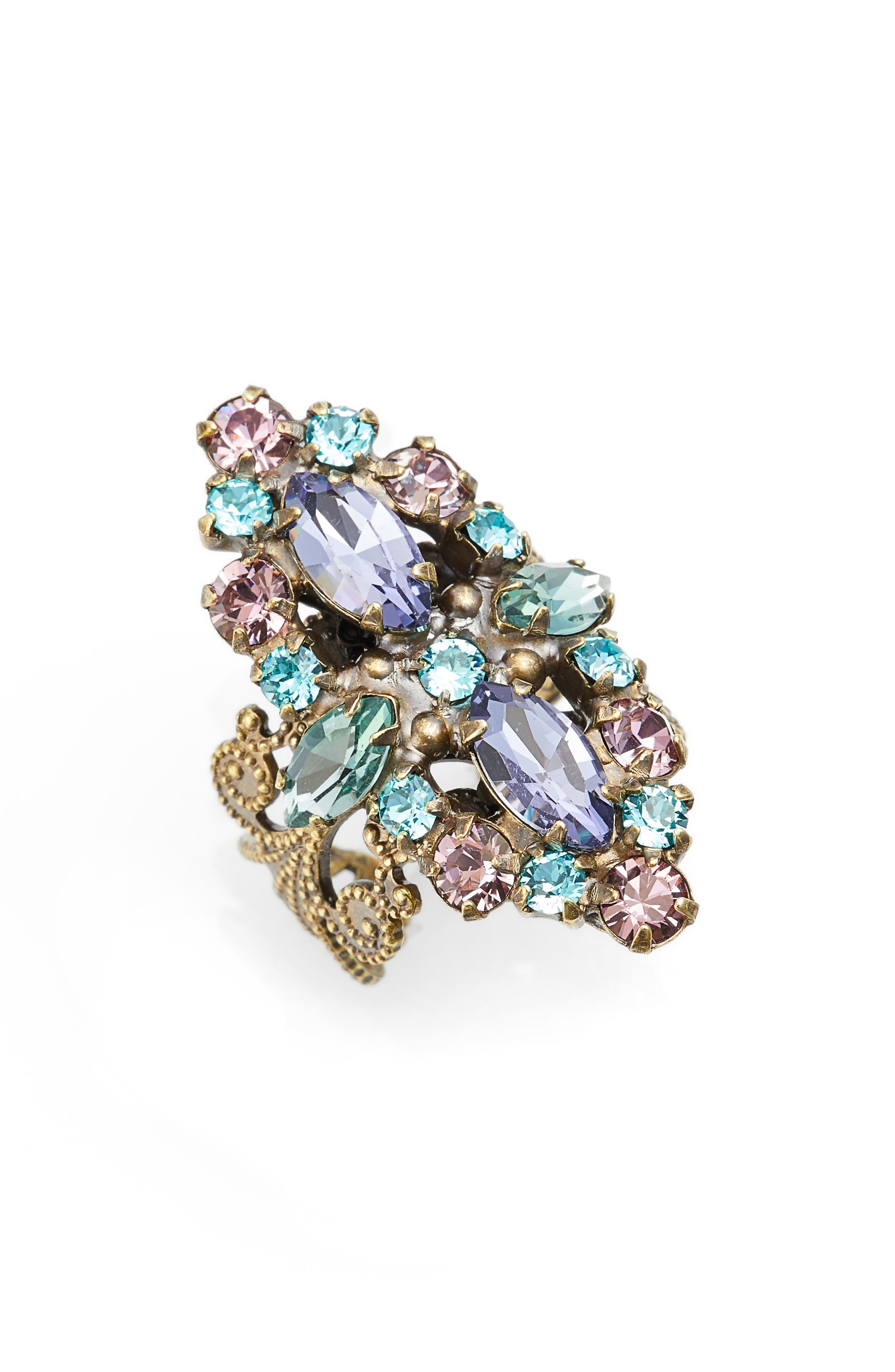 Edelweiss Crystal Cocktail Ring,                         Main,                         color, Multi