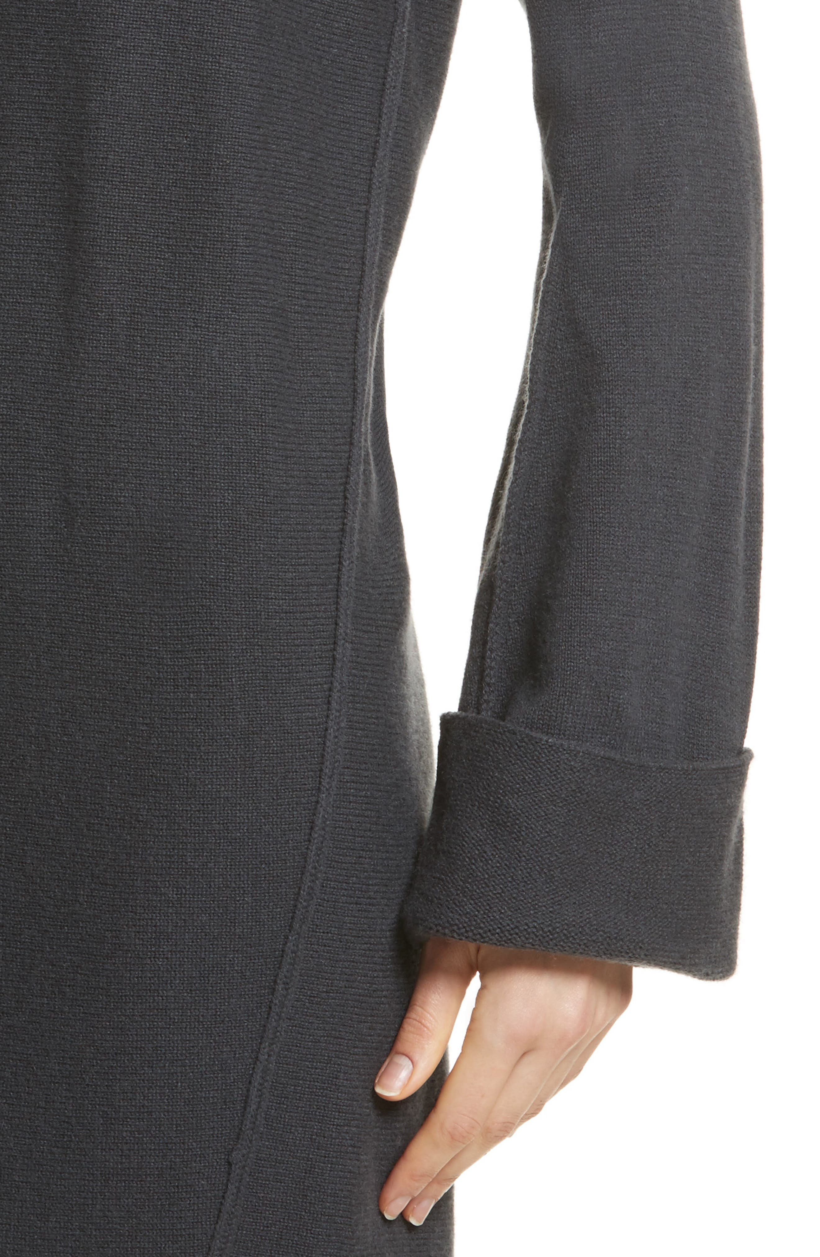 Twisted Seam Wool & Cashmere Sweater Dress,                             Alternate thumbnail 4, color,                             Slate