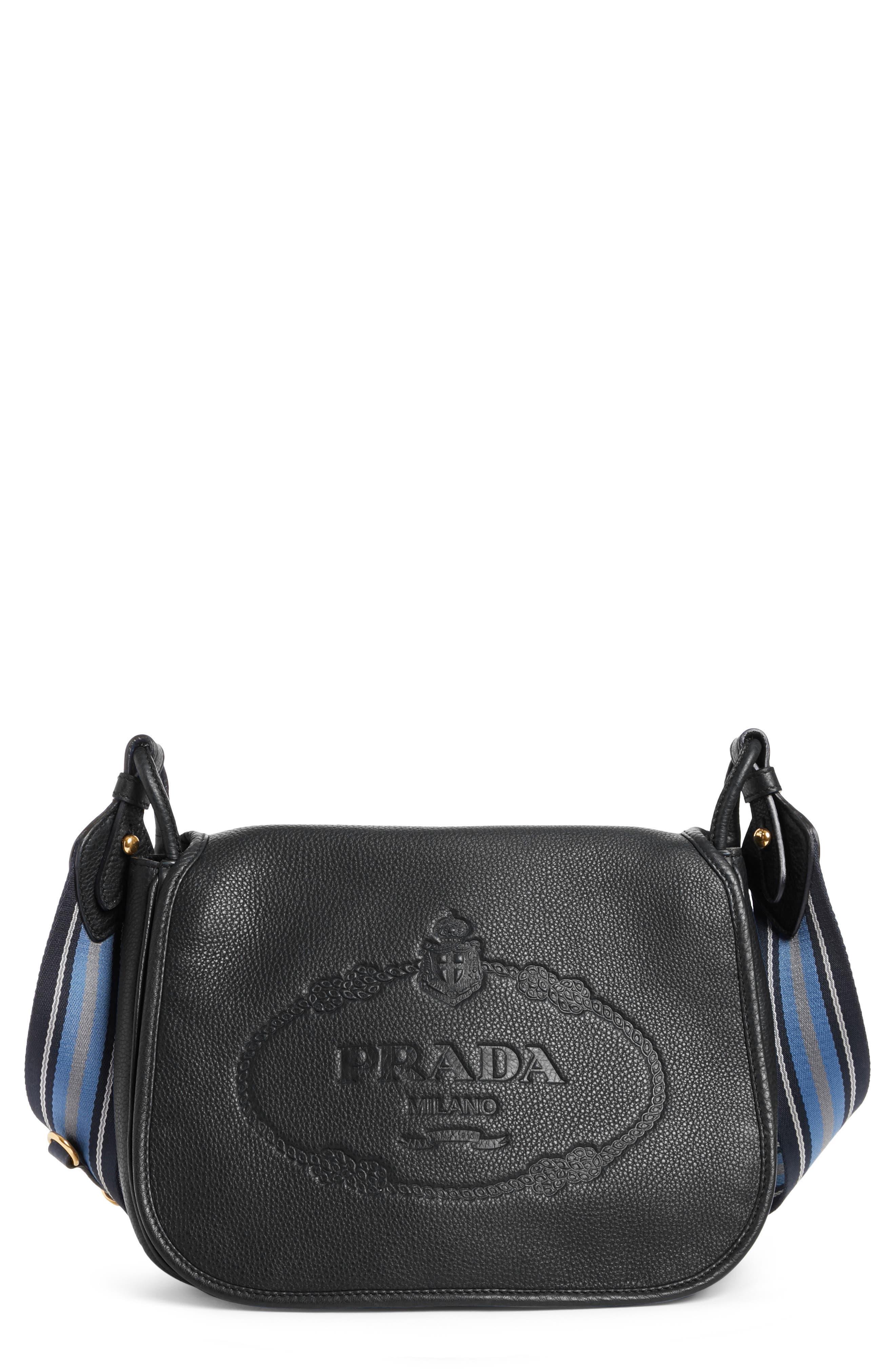 Prada Vitello Daino Heritage Logo Leather Crossbody Bag