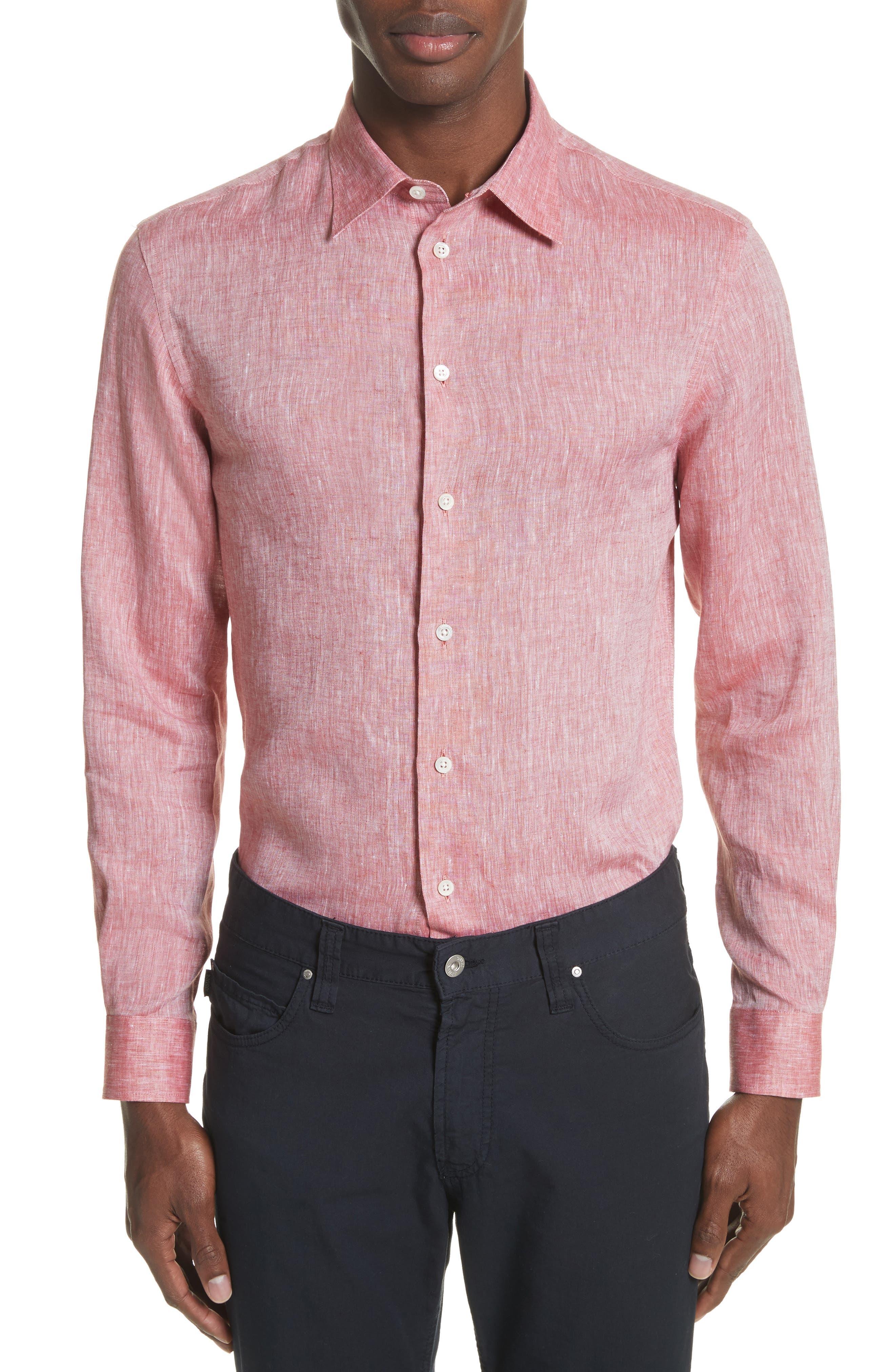 Regular Fit Chambray Sport Shirt,                             Main thumbnail 1, color,                             Medium Red