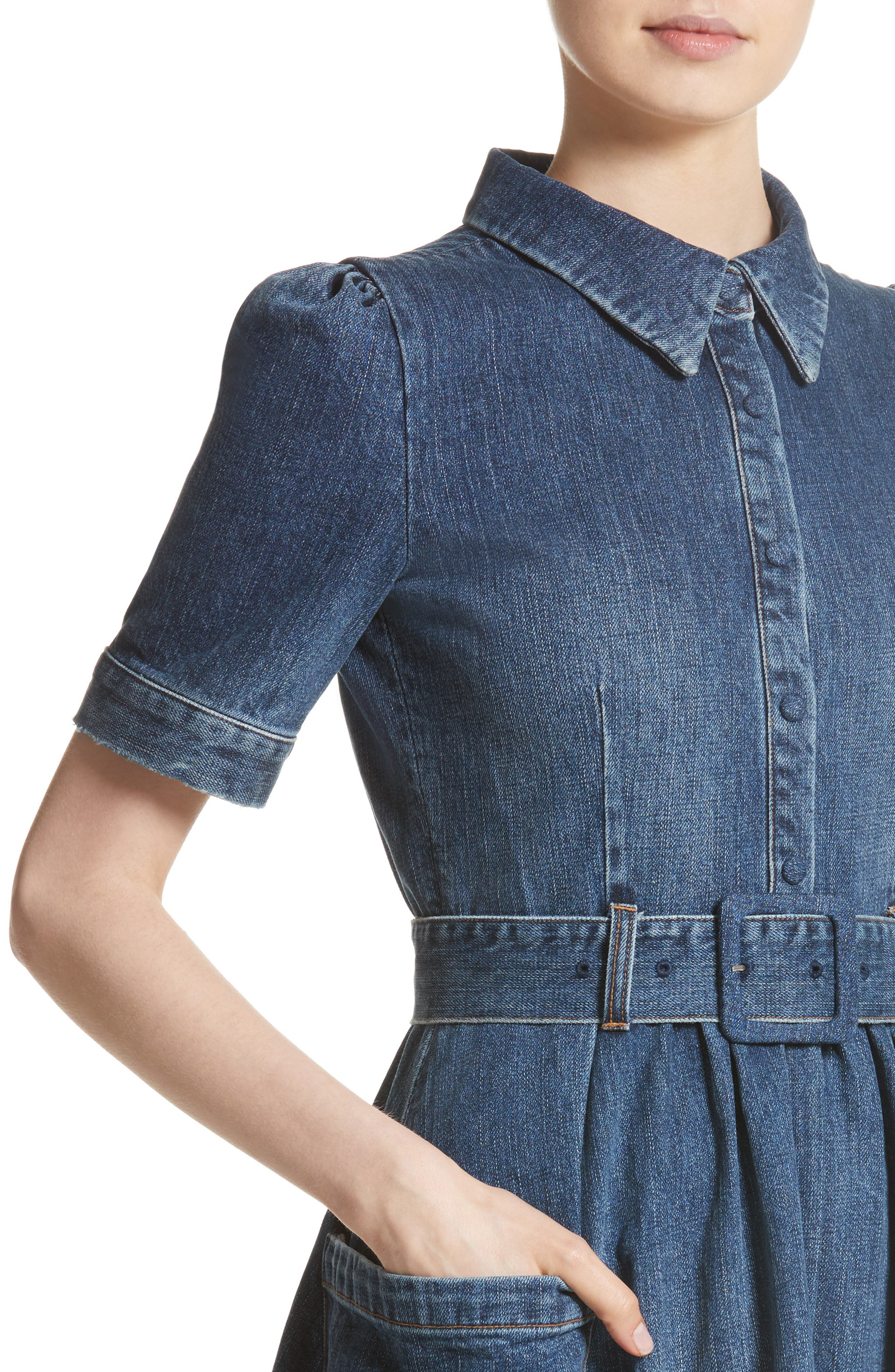 Denim Fit & Flare Midi Dress,                             Alternate thumbnail 6, color,                             Indigo