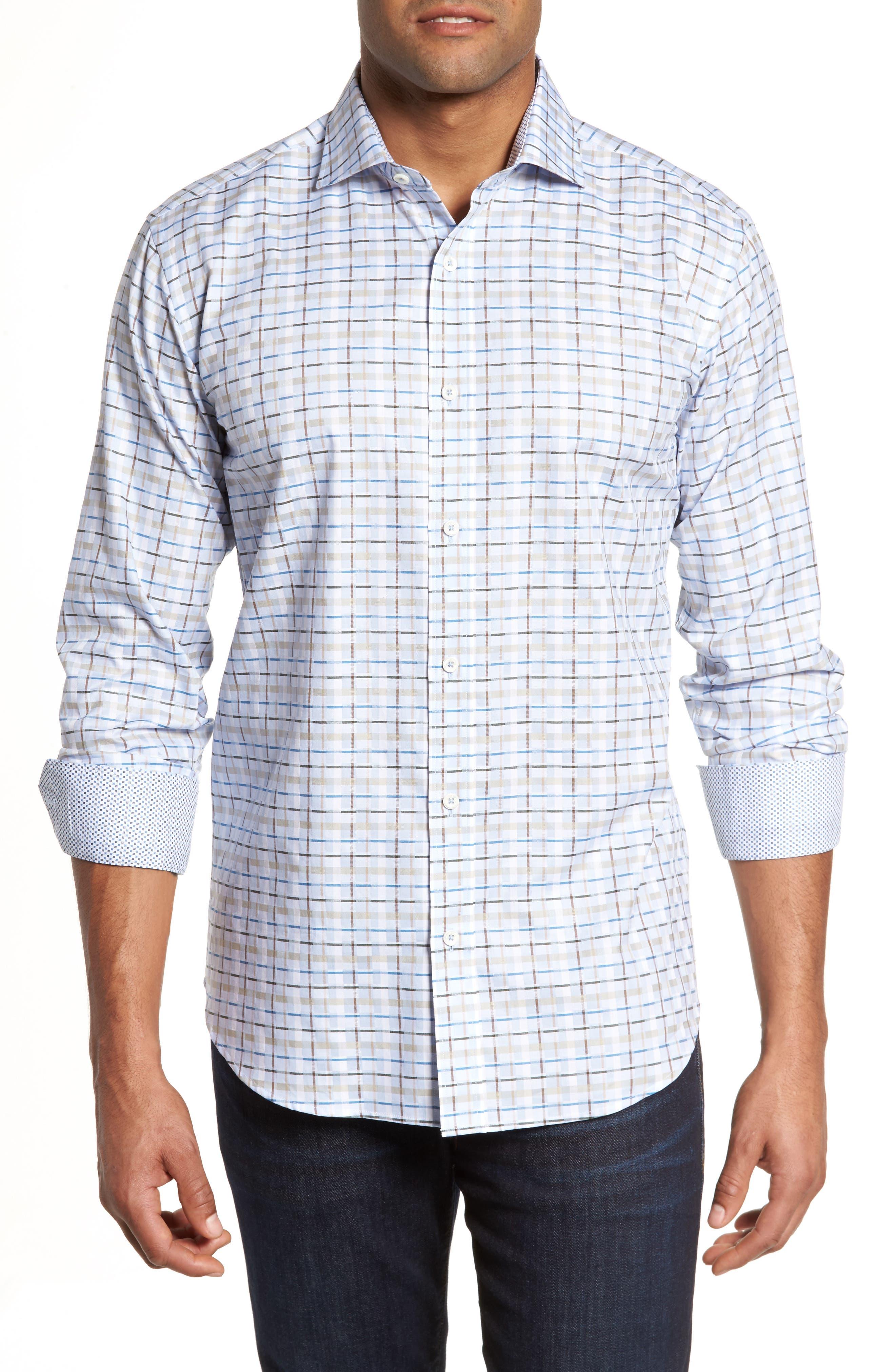 Shaped Fit Plaid Sport Shirt,                         Main,                         color, Sky