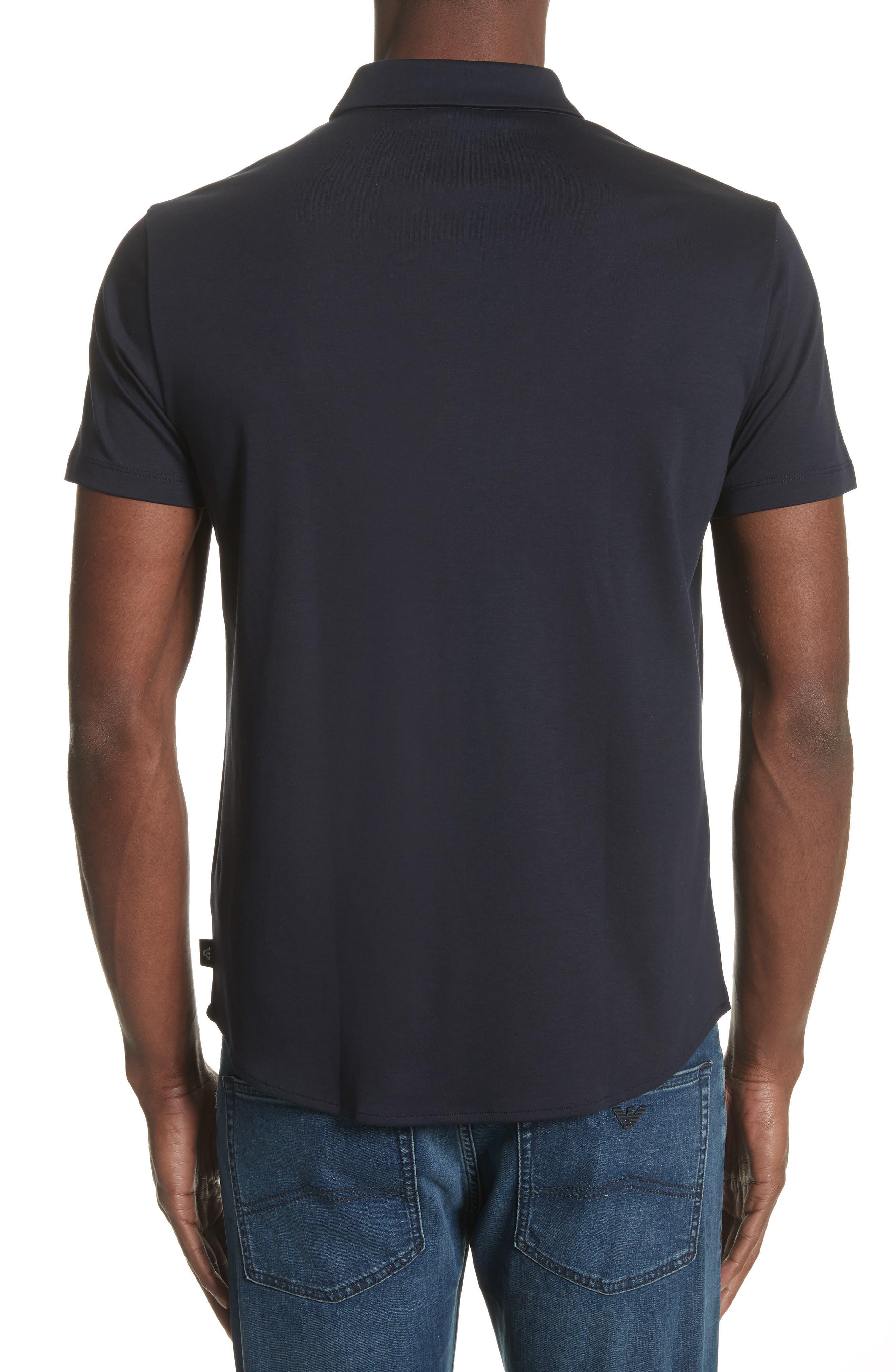 Slim Fit Cotton Knit Sport Shirt,                             Alternate thumbnail 2, color,                             Blue Navy