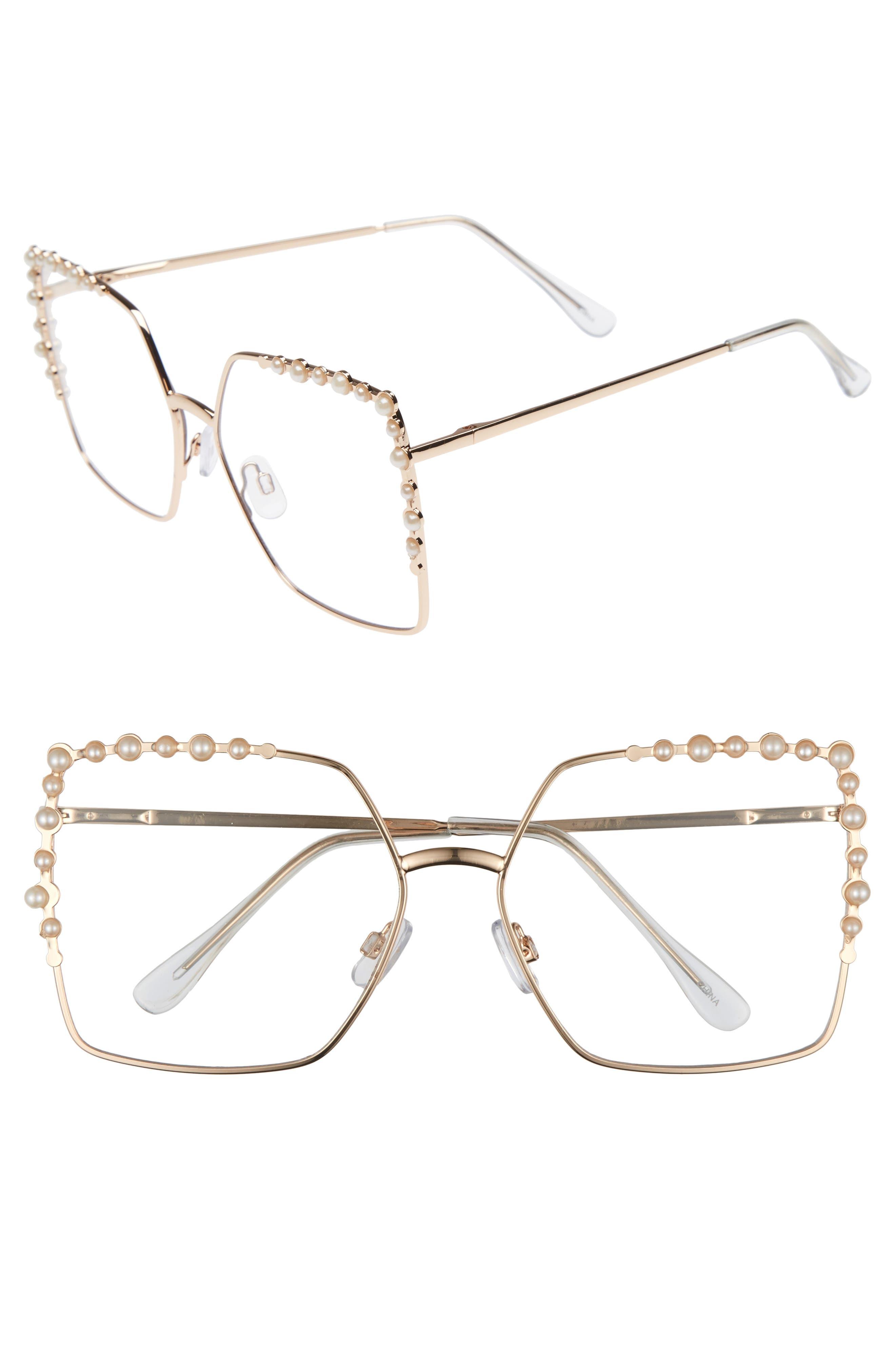 63mm Imitation Pearl Square Fashion Glasses,                             Main thumbnail 1, color,                             Gold/ Pearl