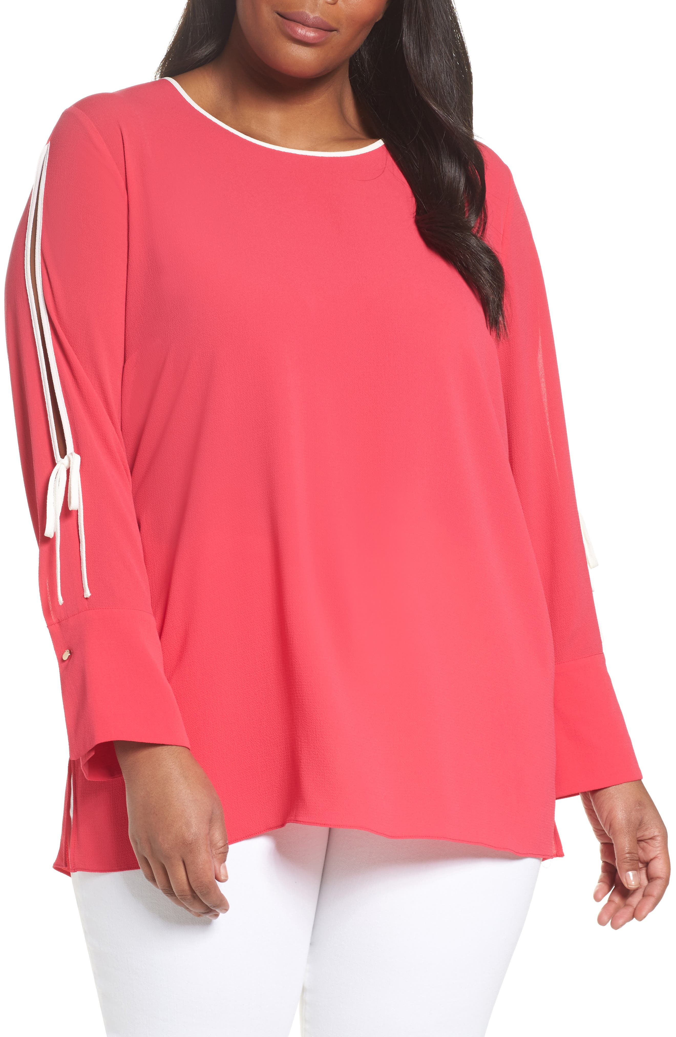 Bell Cuff Split Sleeve Shirt,                         Main,                         color, Vibrant Pink