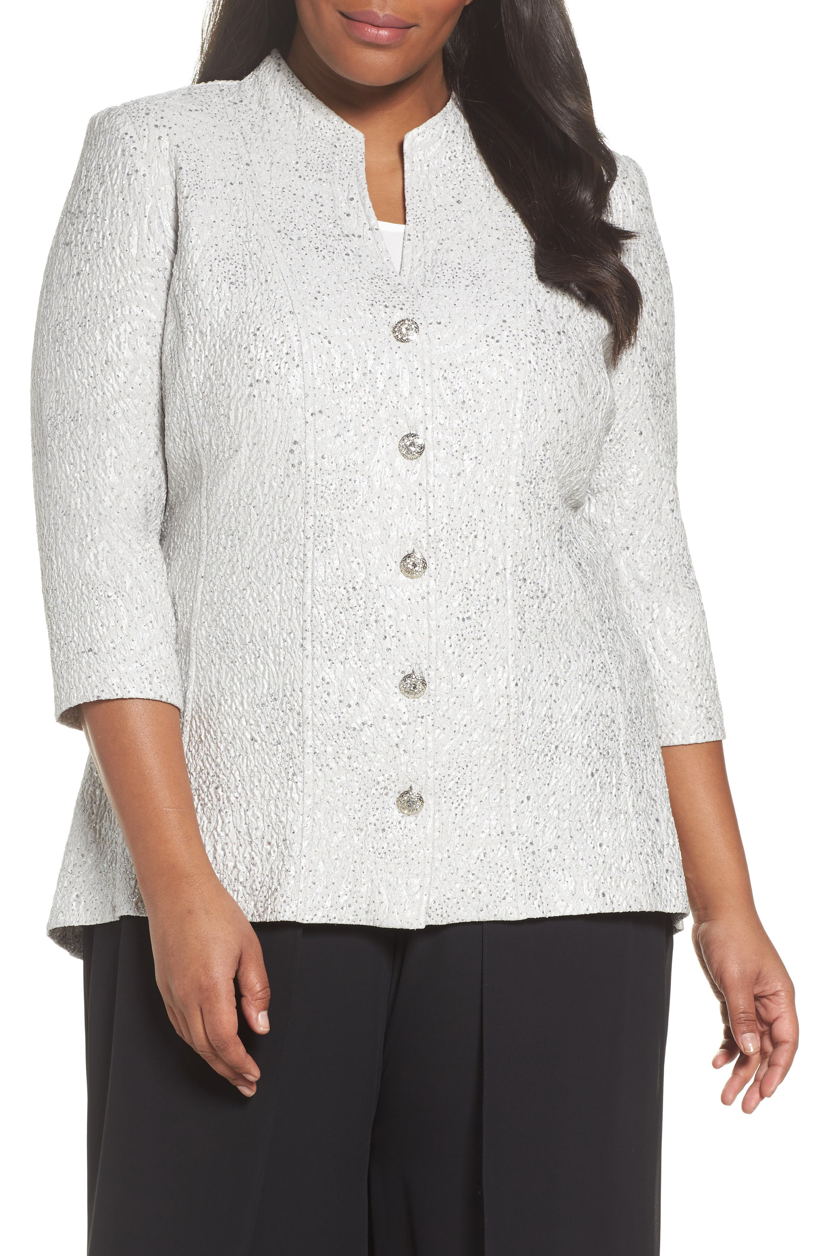 Alex Evenings Mandarin Collar Shimmer Jacket (Plus Size)