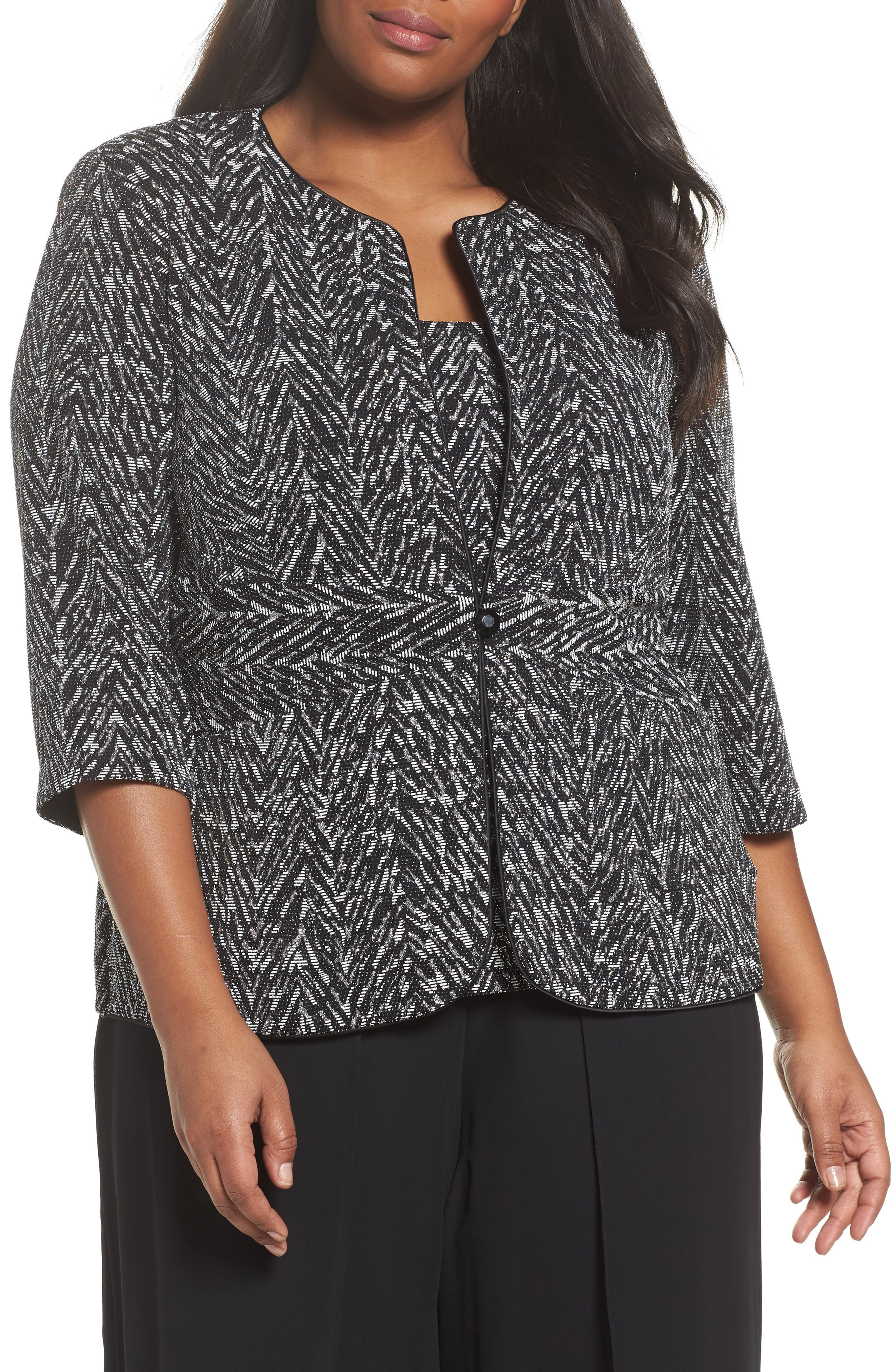 Jacquard Twinset,                         Main,                         color, Black/ White