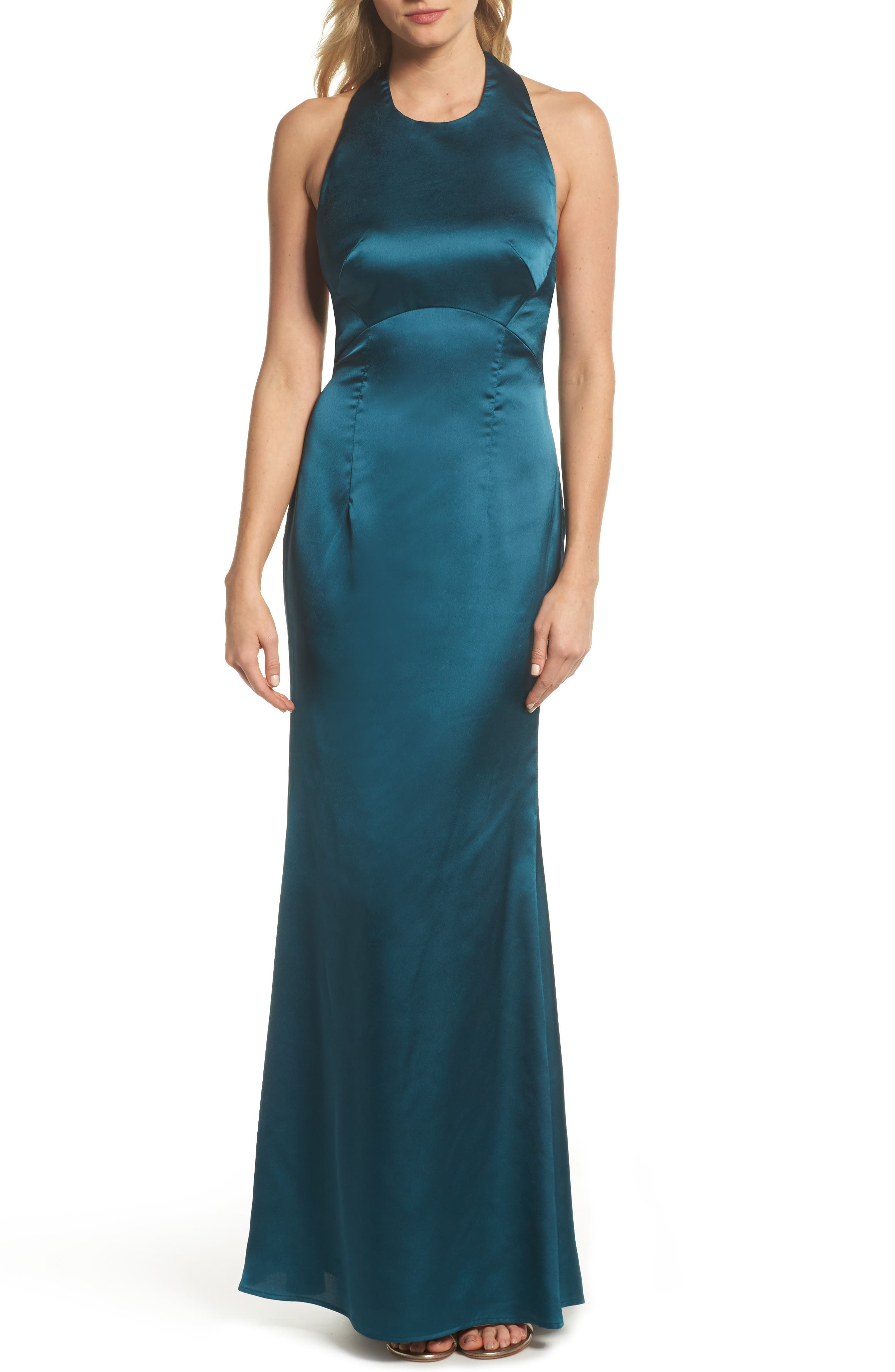 Trixie Halter Gown,                             Main thumbnail 1, color,                             Green