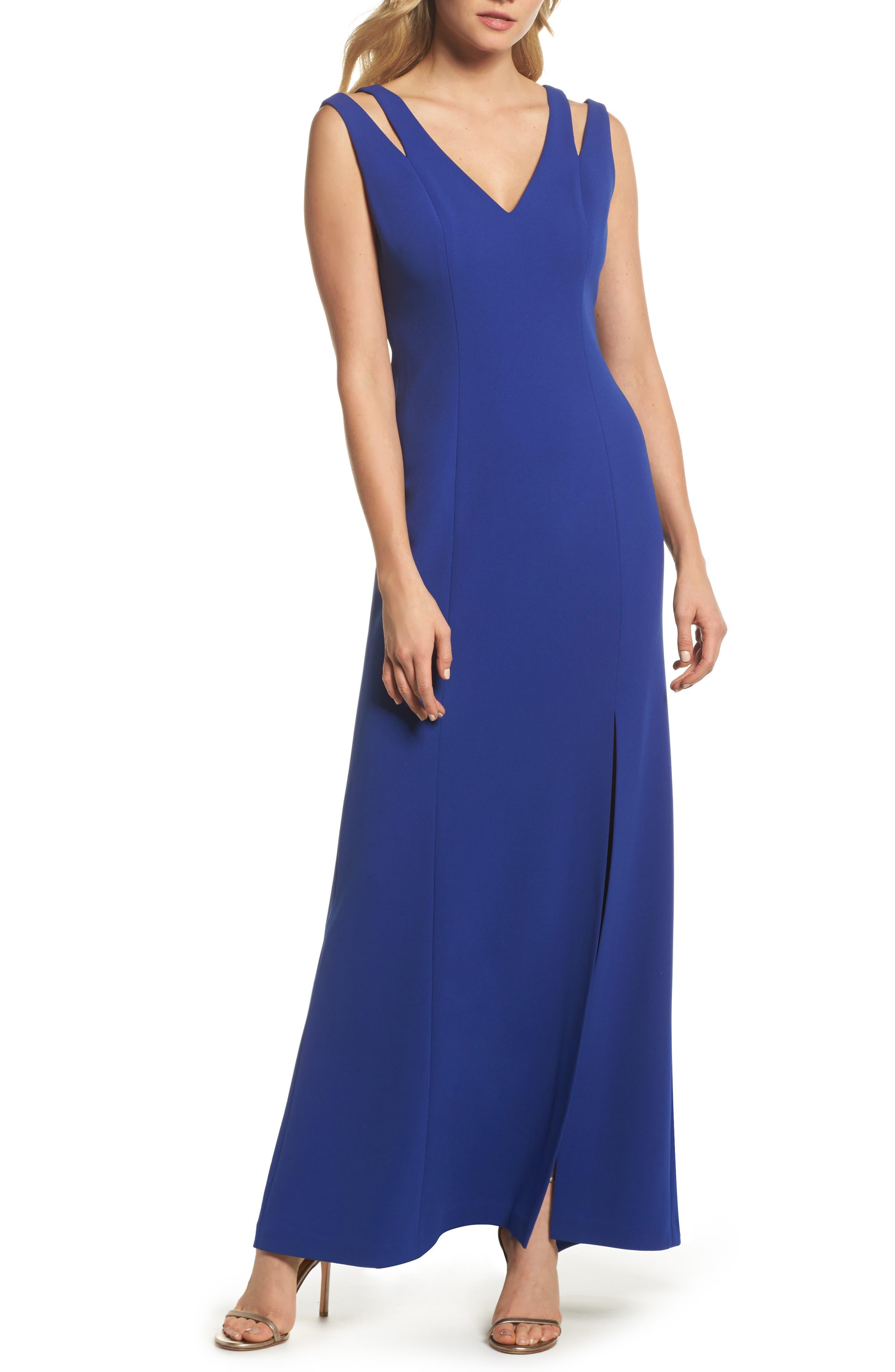 Cutout Shoulder Scuba Gown,                         Main,                         color, Cob