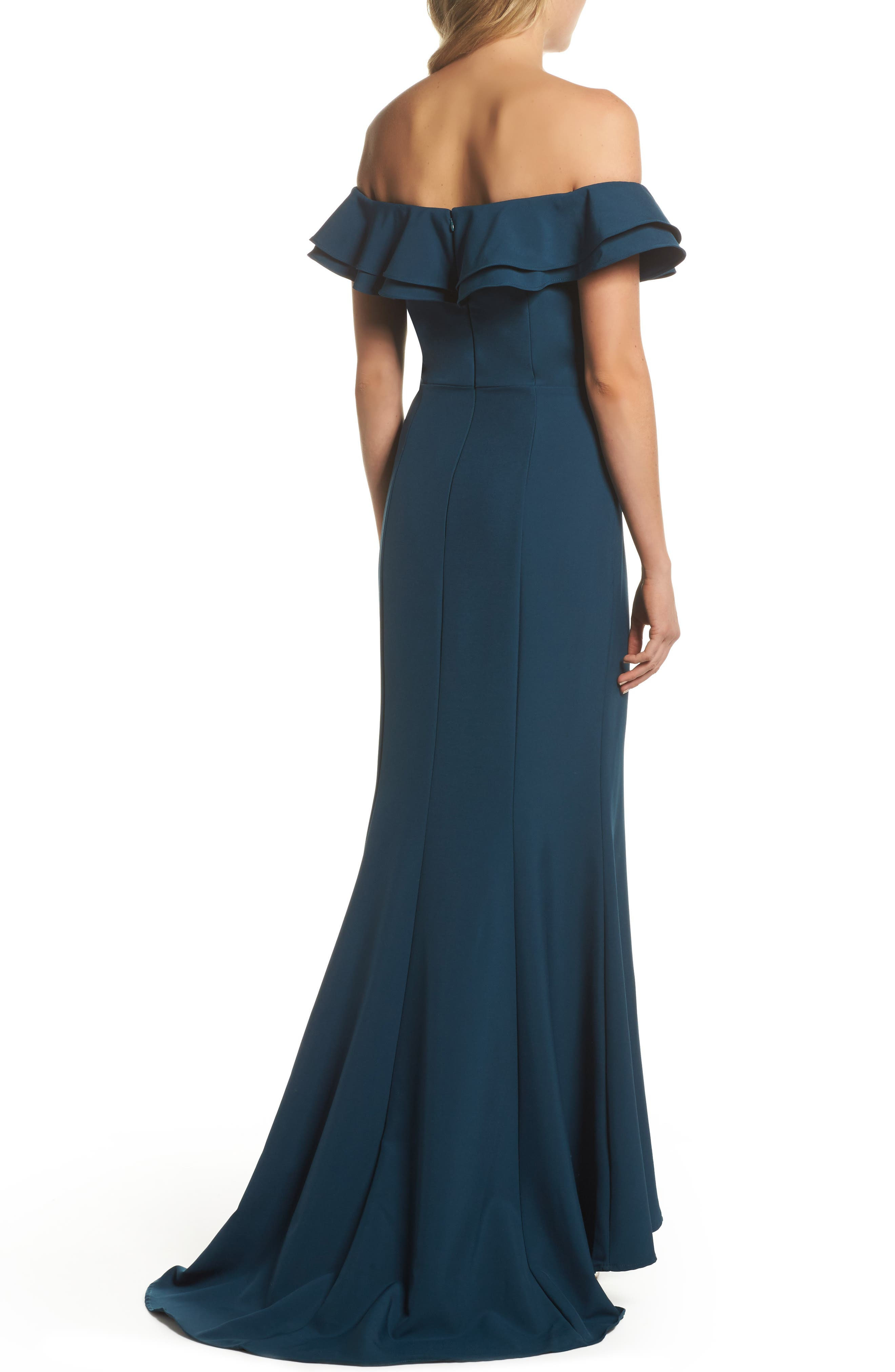 Alternate Image 2  - Jarlo Yazmin Ruffle Off the Shoulder Gown