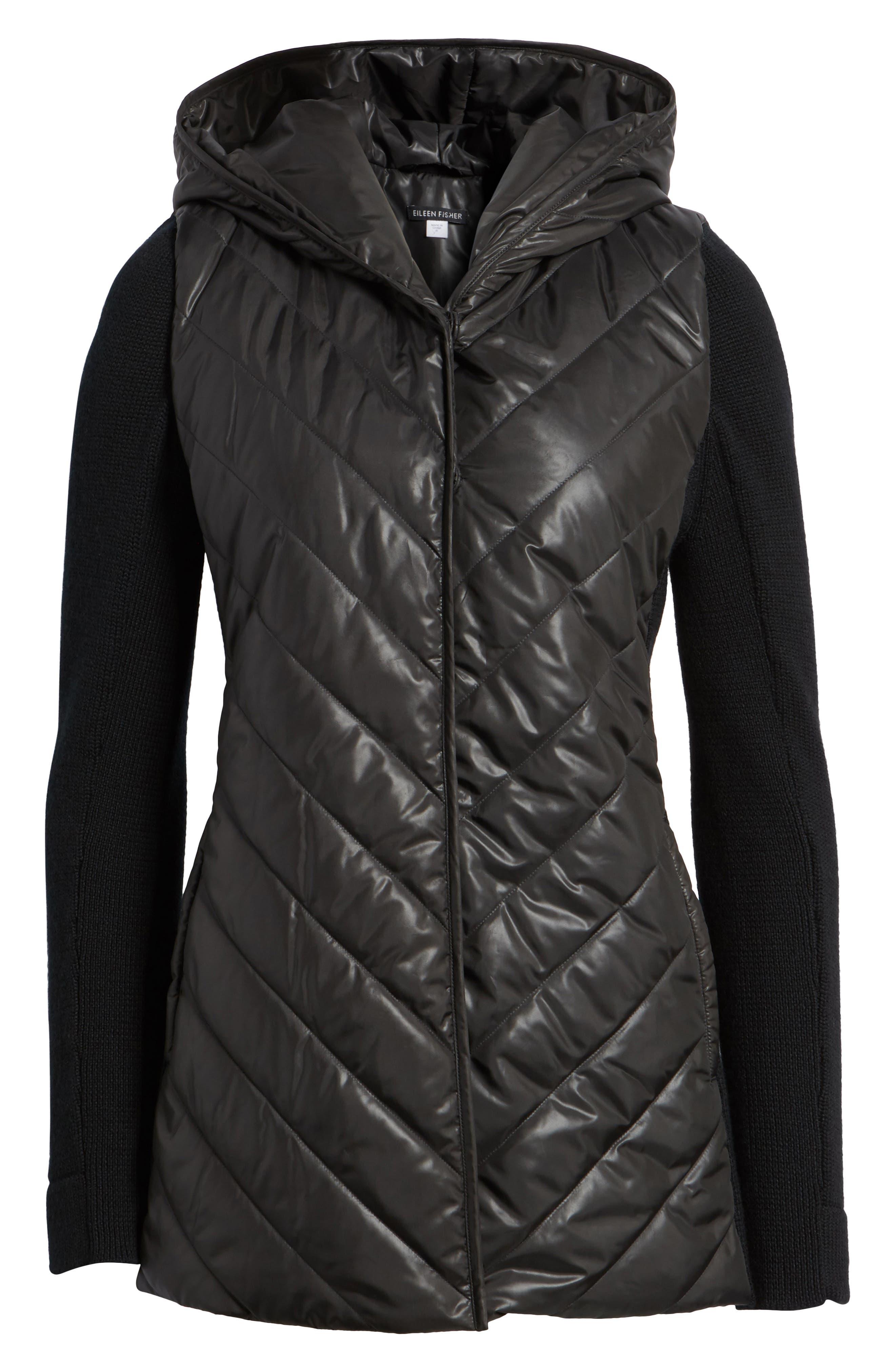 Alternate Image 6  - Eileen Fisher Hooded Merino Wool Trim Jacket