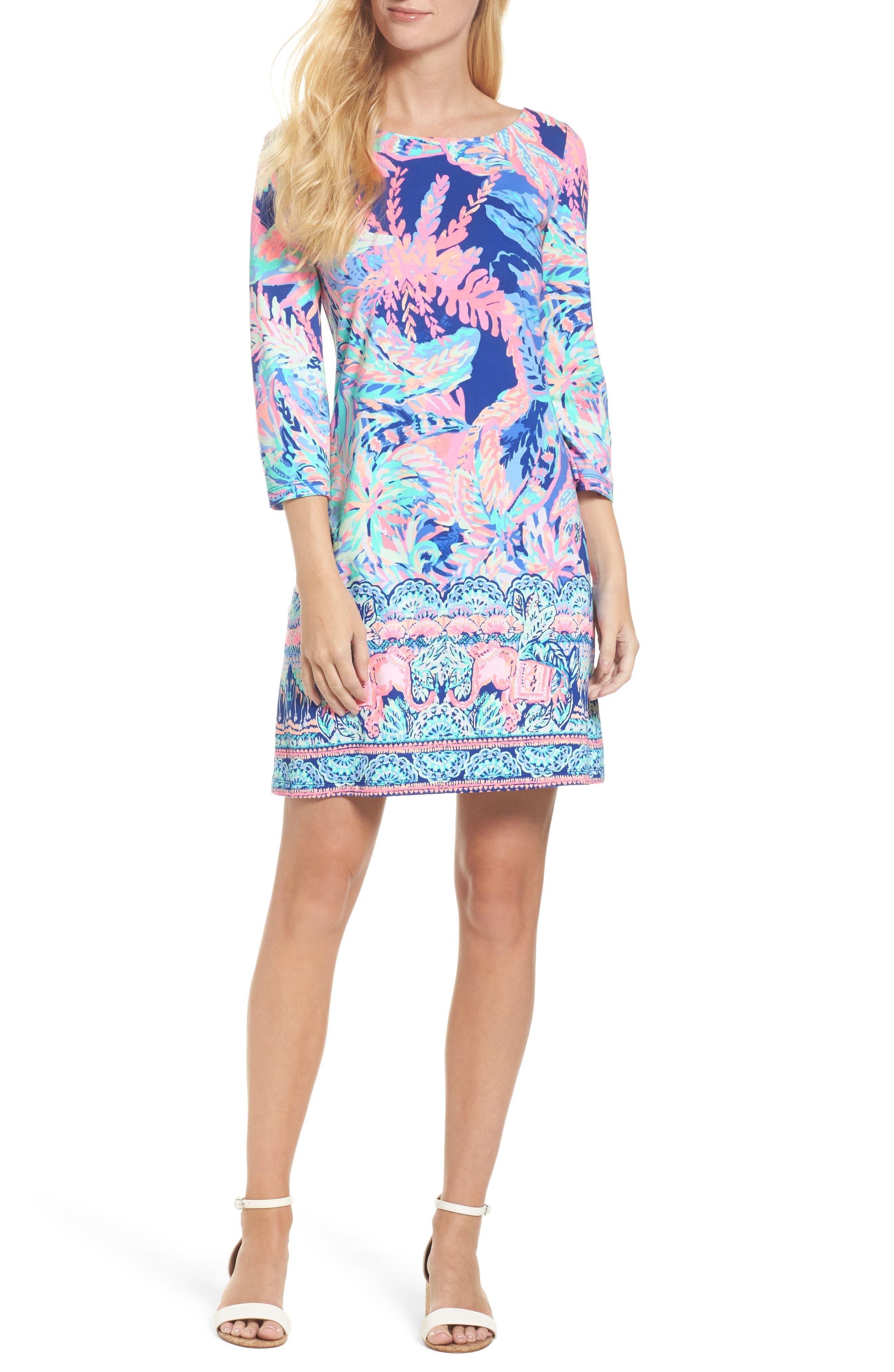 Bay Shift Dress,                             Main thumbnail 1, color,                             Multi Sunset Safari Engineered