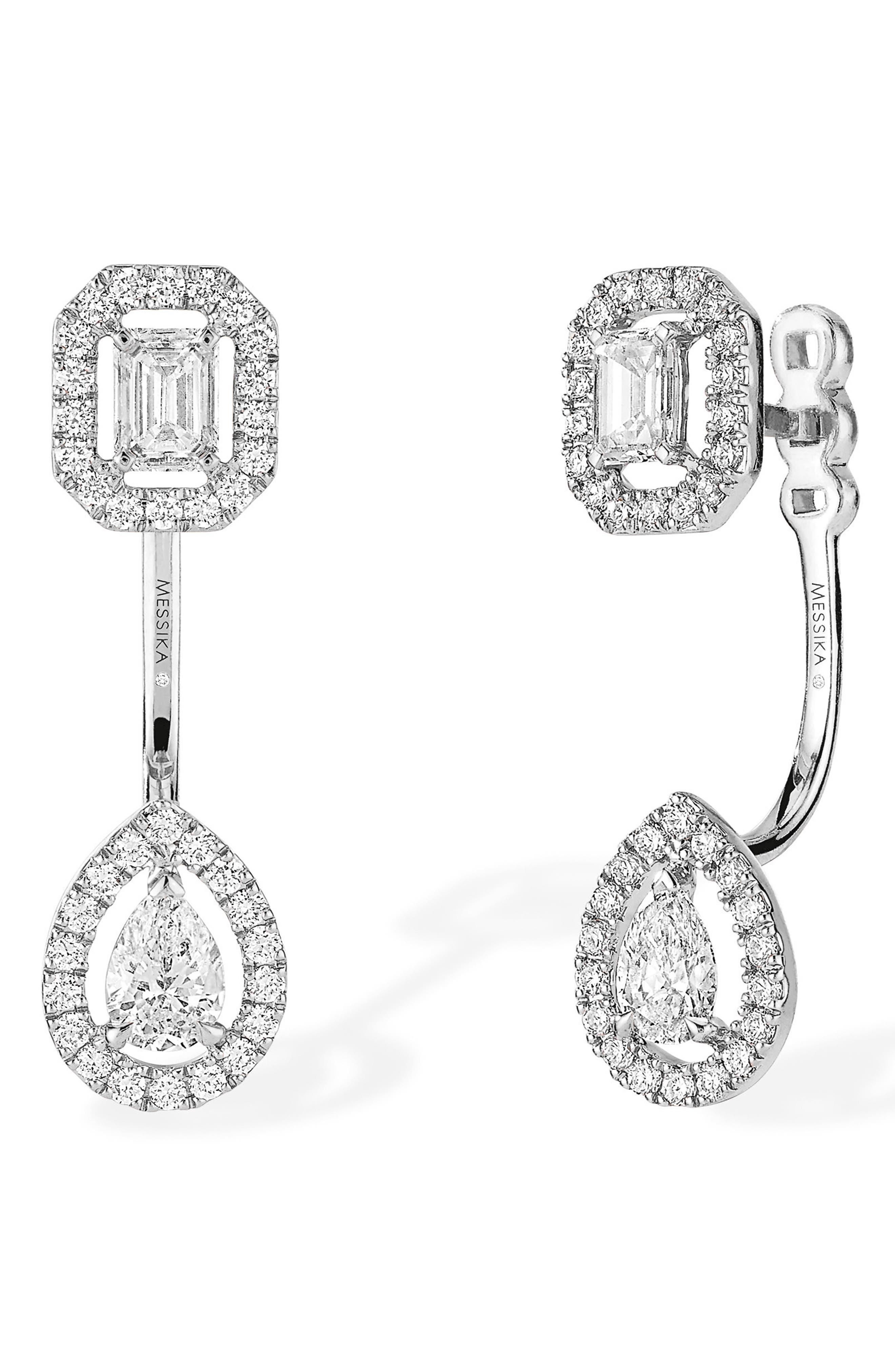 My Twin Diamond Ear Jackets,                             Main thumbnail 1, color,                             White Gold